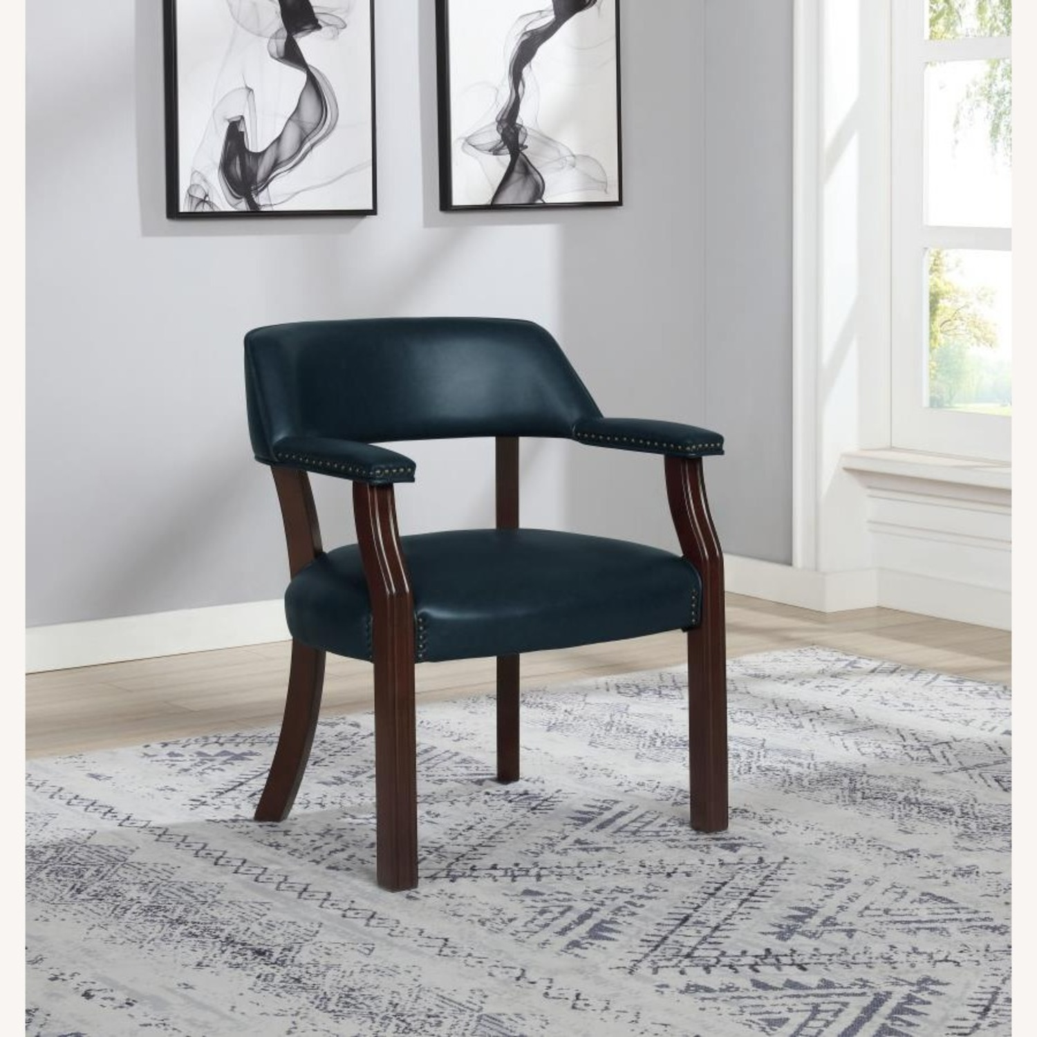 Guest Chair In Blue Leatherette - image-2