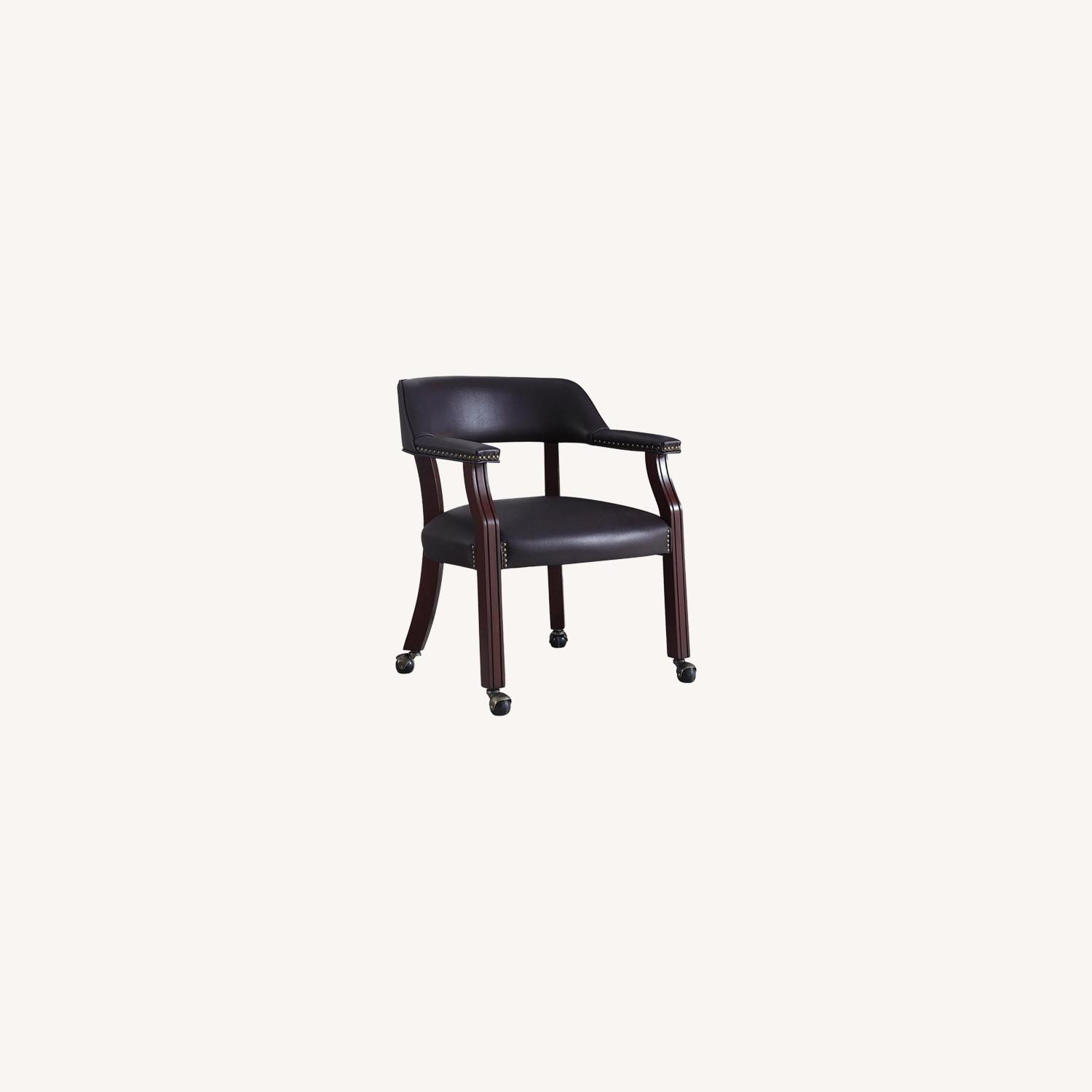 Guest Chair In Burgundy Leatherette Finish - image-3