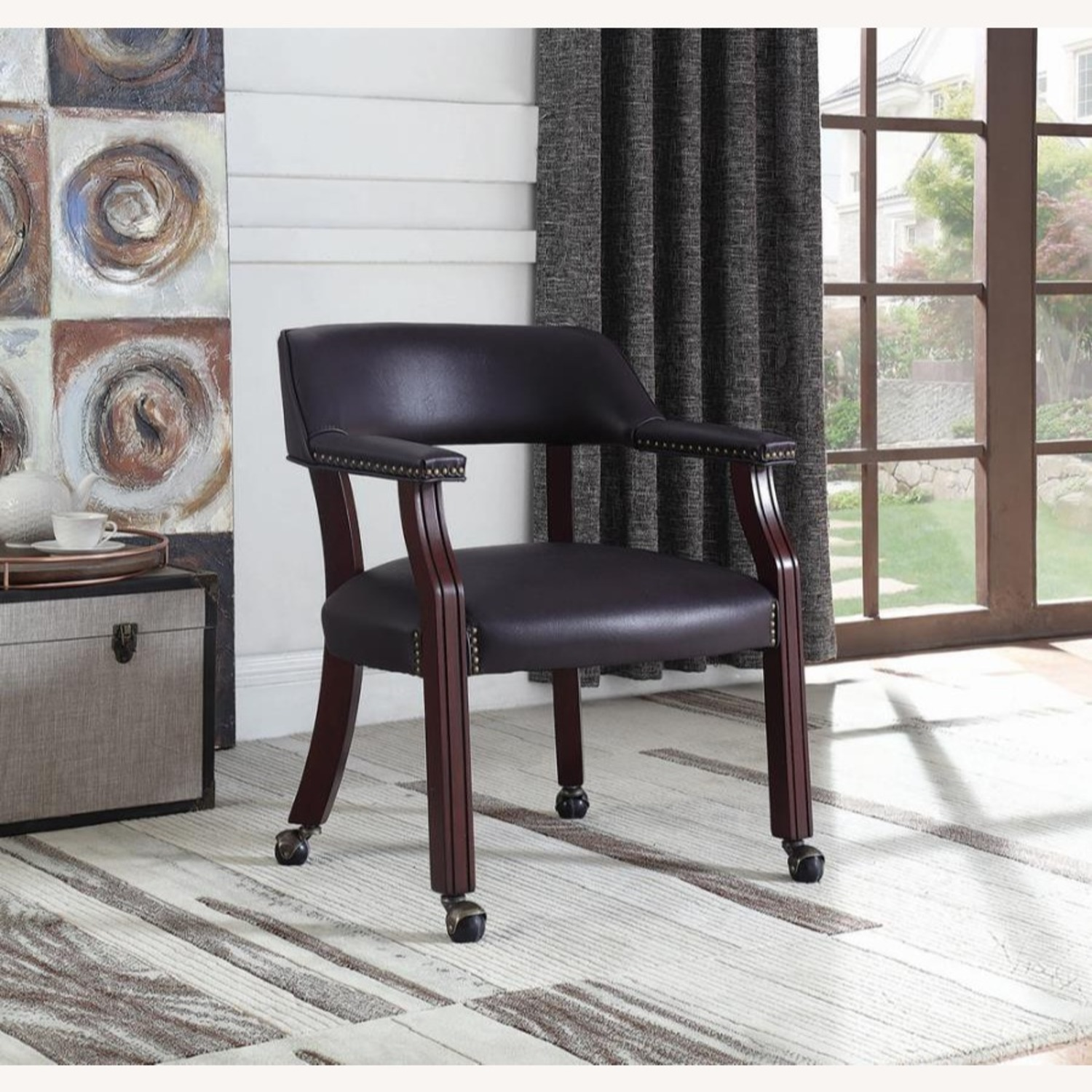 Guest Chair In Burgundy Leatherette Finish - image-2
