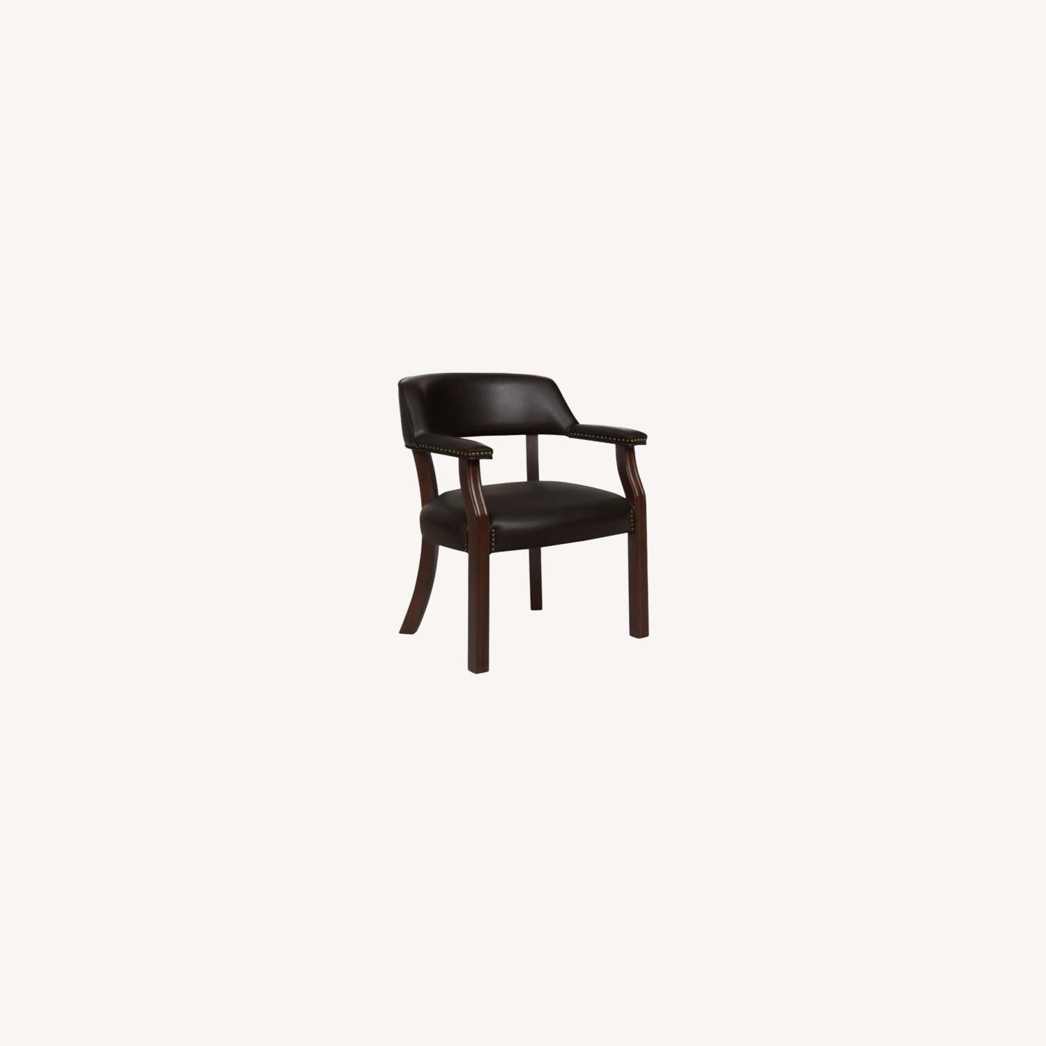 Guest Chair In Brown Leatherette - image-3