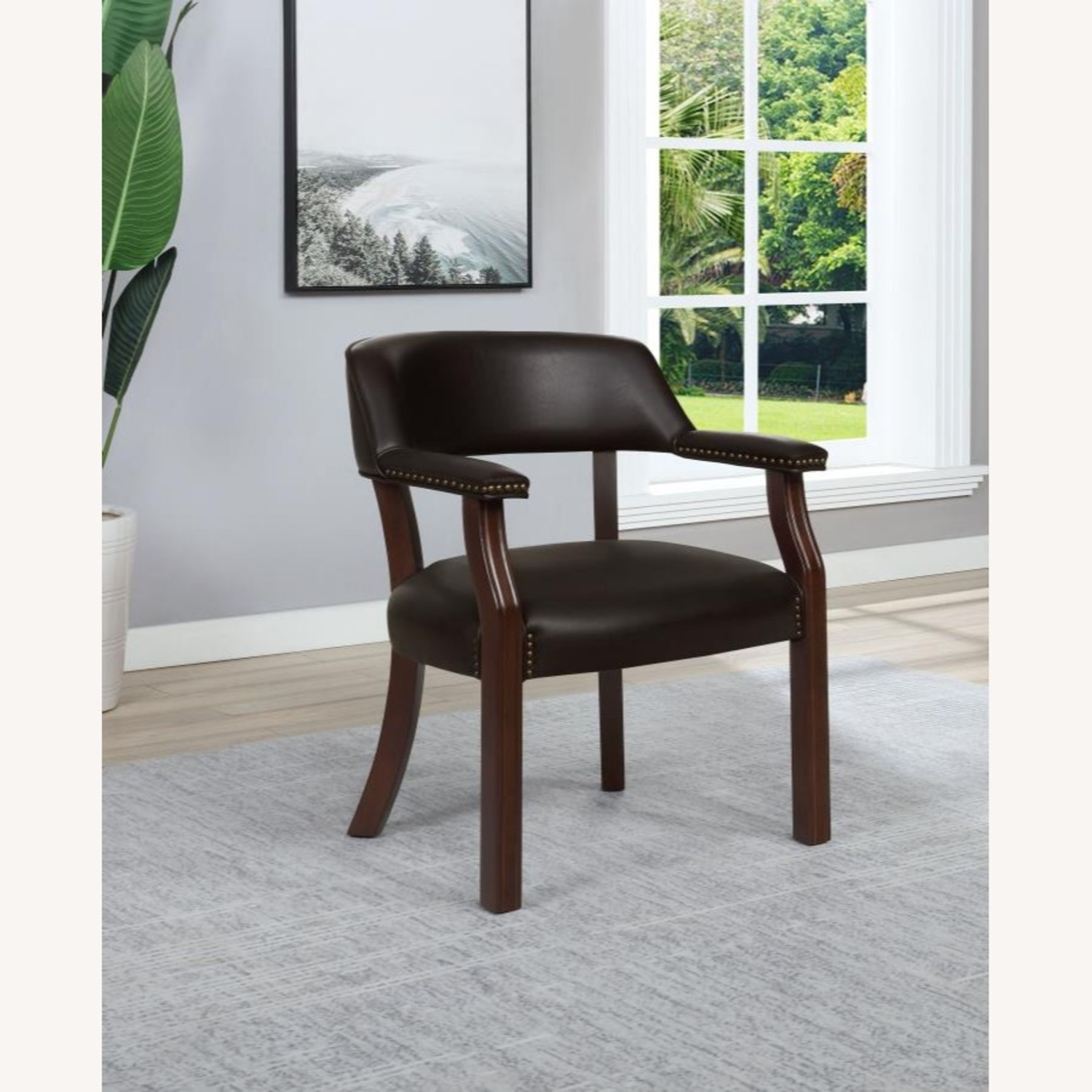 Guest Chair In Brown Leatherette - image-2