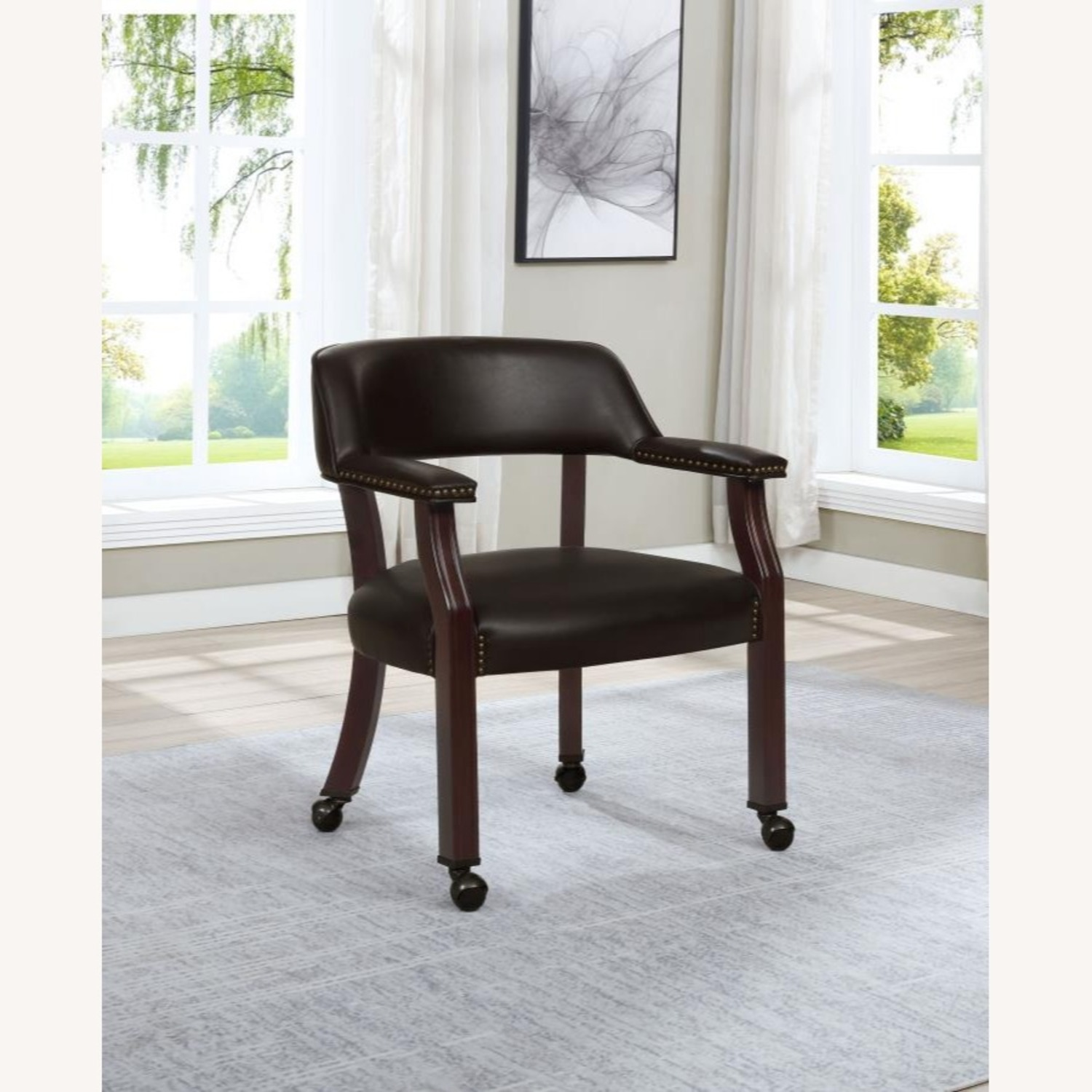 Guest Chair In Brown Leatherette Upholstery - image-2