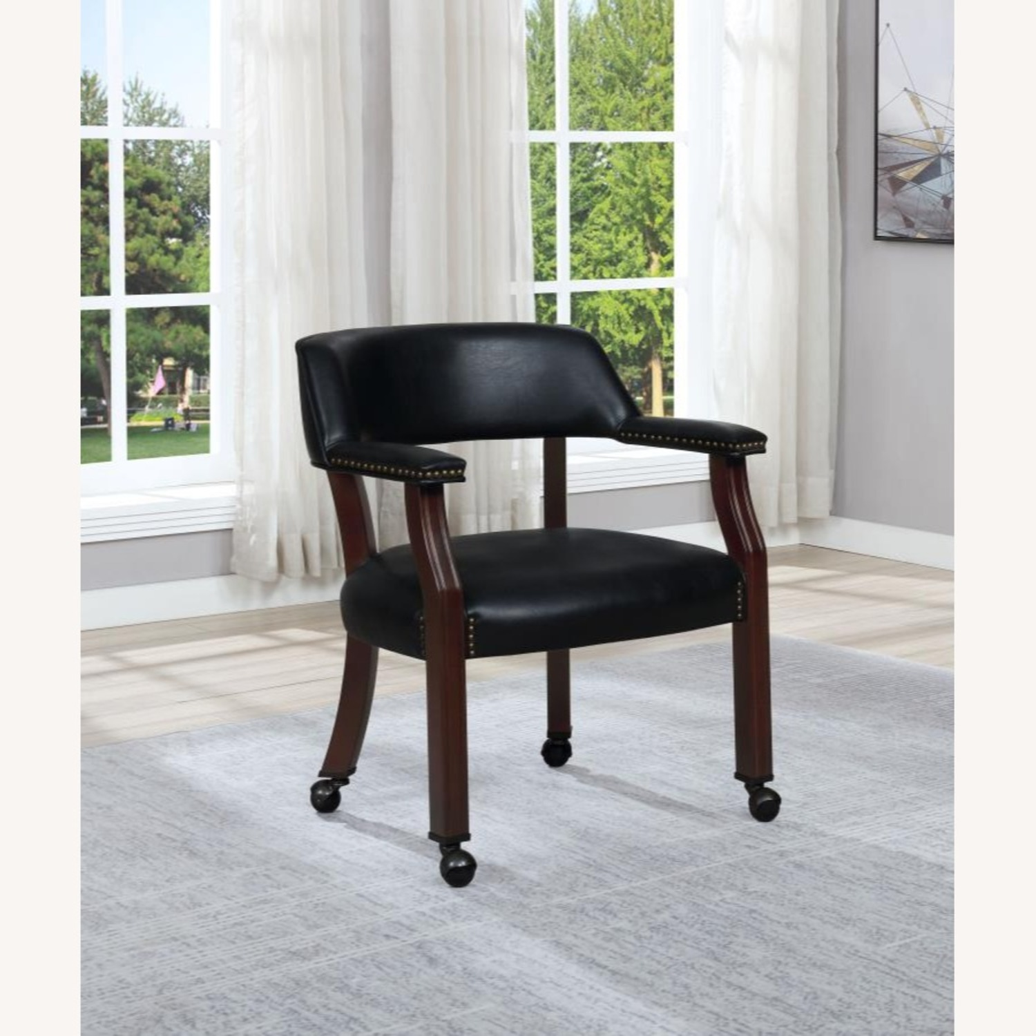 Guest Chair In Black Leatherette Upholstery - image-2