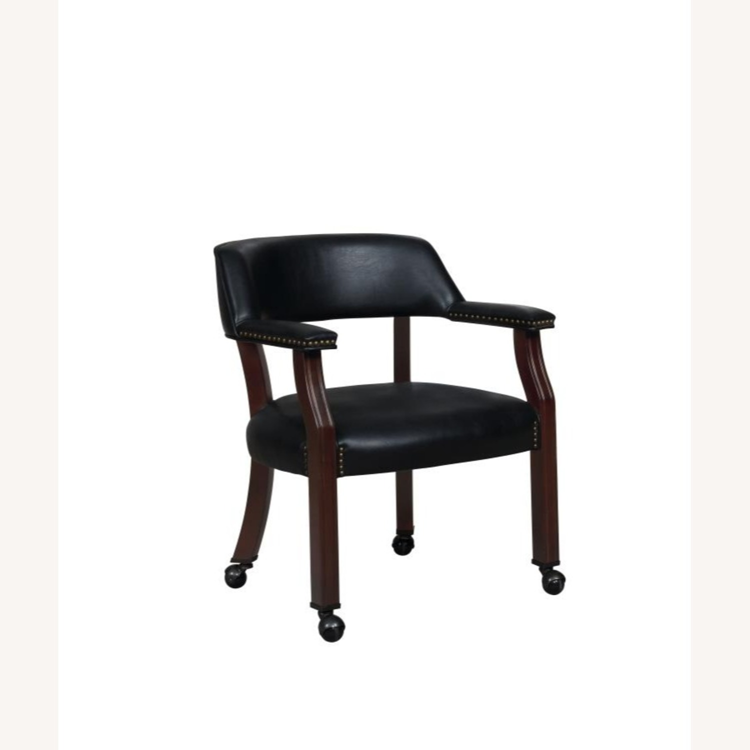 Guest Chair In Black Leatherette Upholstery - image-0