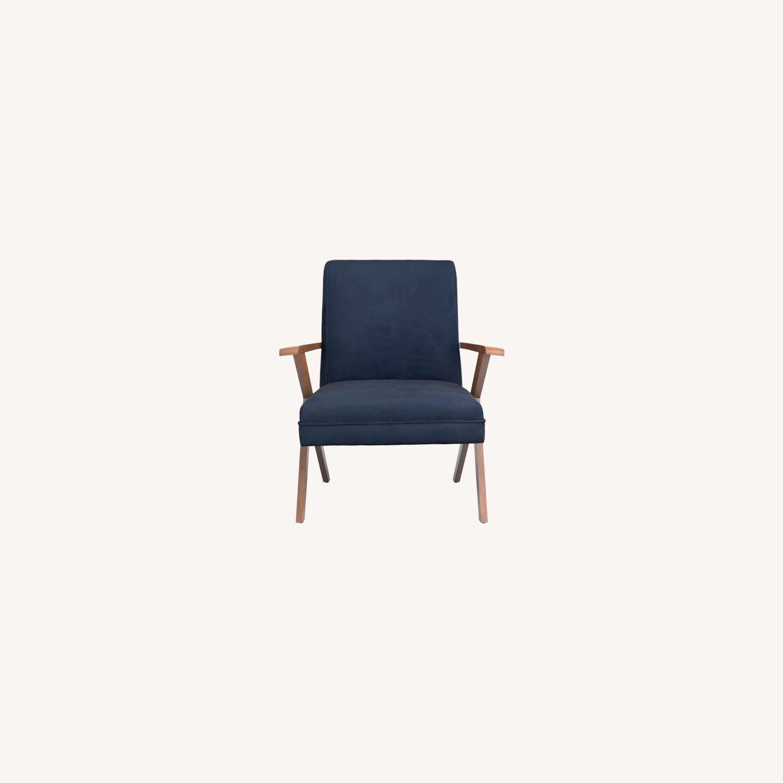 Accent Chair In Dark Blue Velvet Fabric - image-5