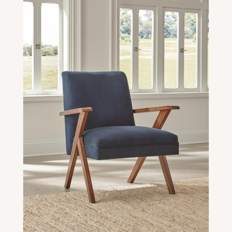 Accent Chair In Dark Blue Velvet Fabric - image-4