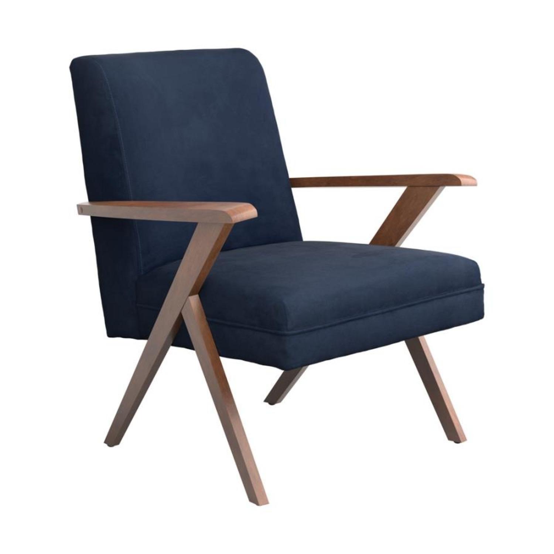 Accent Chair In Dark Blue Velvet Fabric - image-0