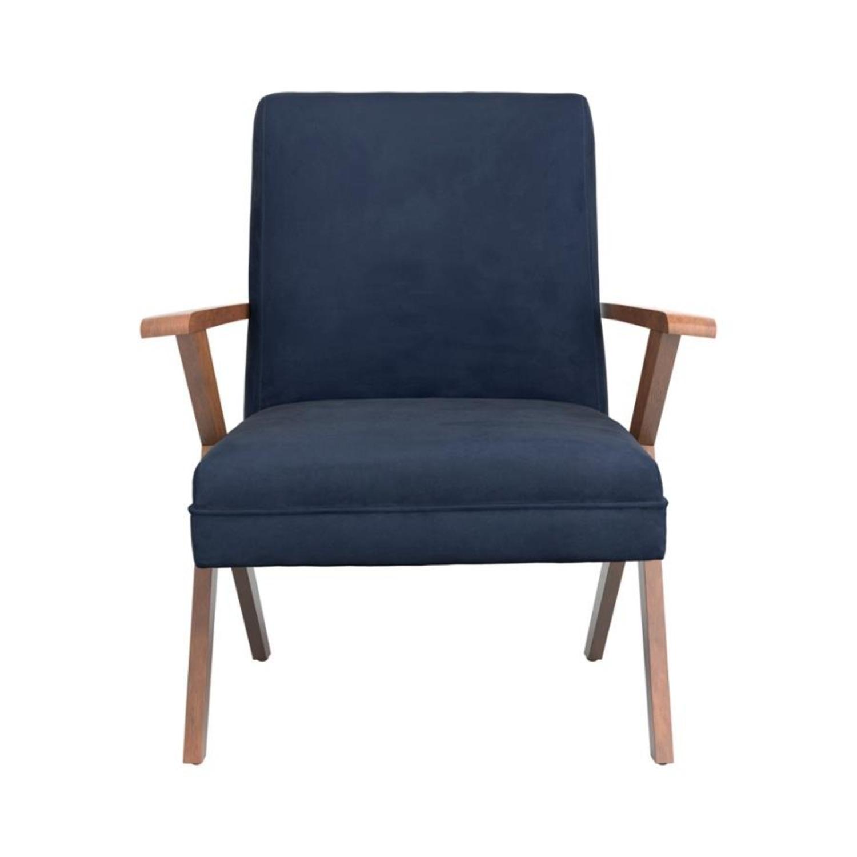 Accent Chair In Dark Blue Velvet Fabric - image-1
