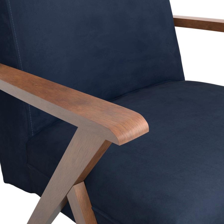 Accent Chair In Dark Blue Velvet Fabric - image-3