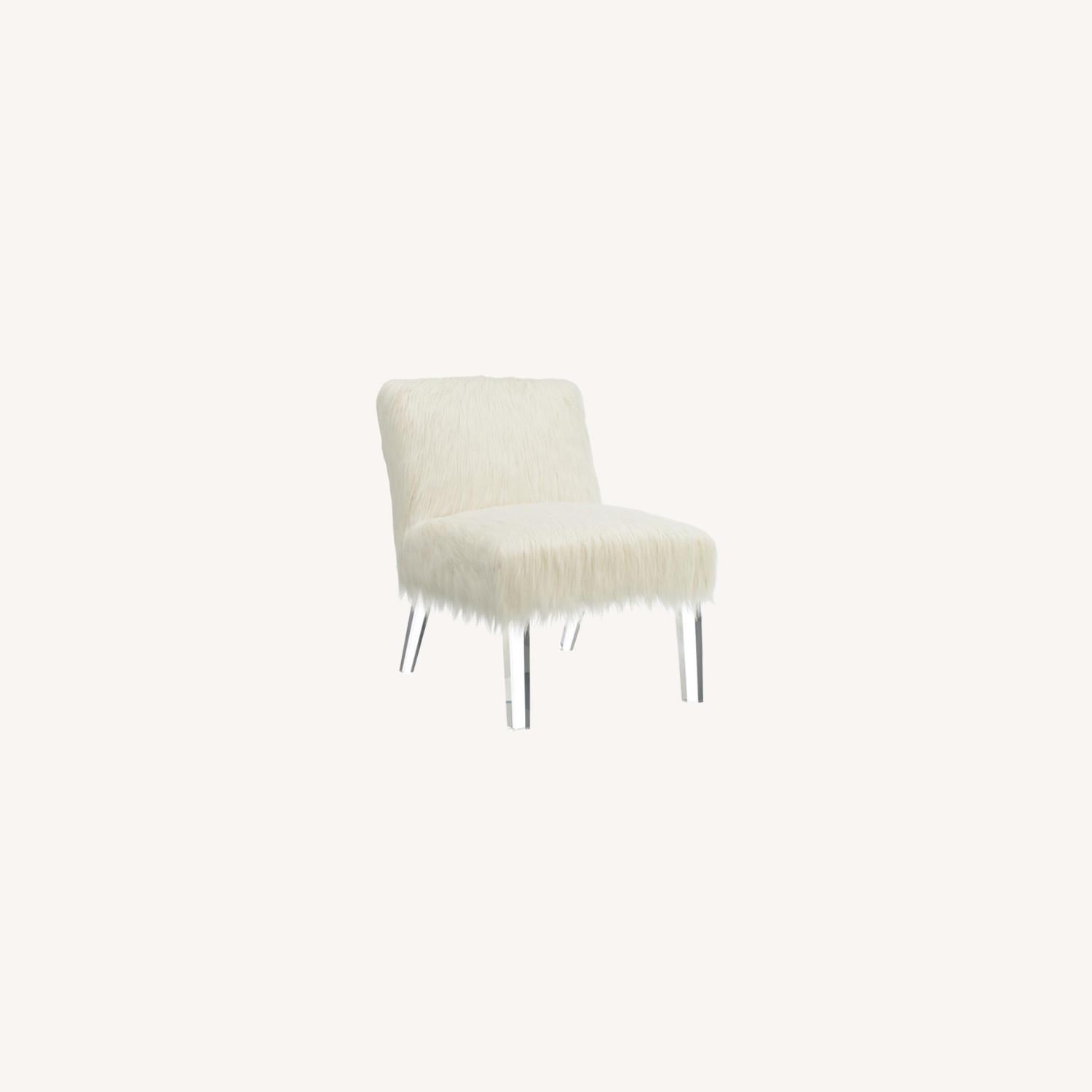 Accent Chair In Glamorous White Faux Sheepskin - image-5