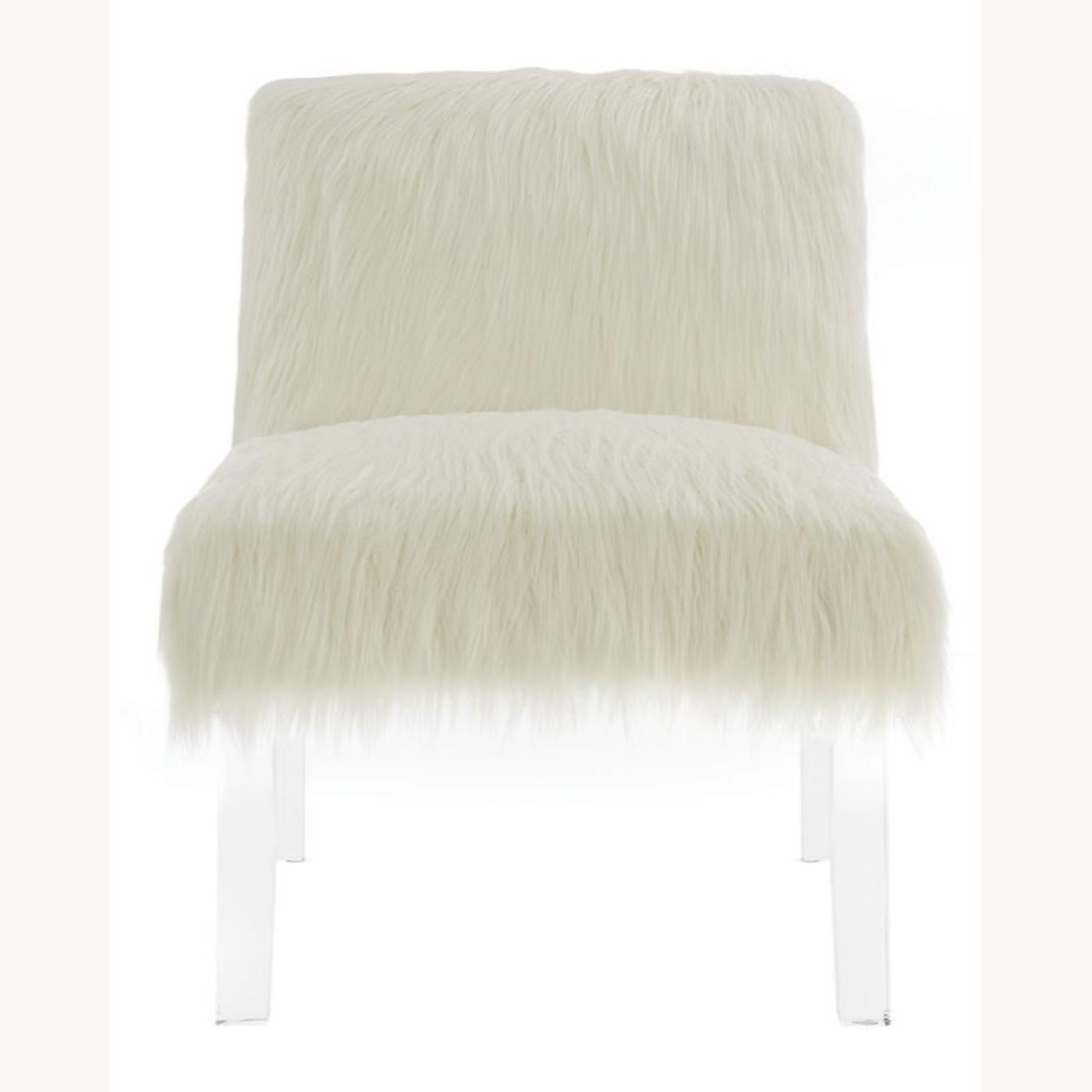 Accent Chair In Glamorous White Faux Sheepskin - image-1