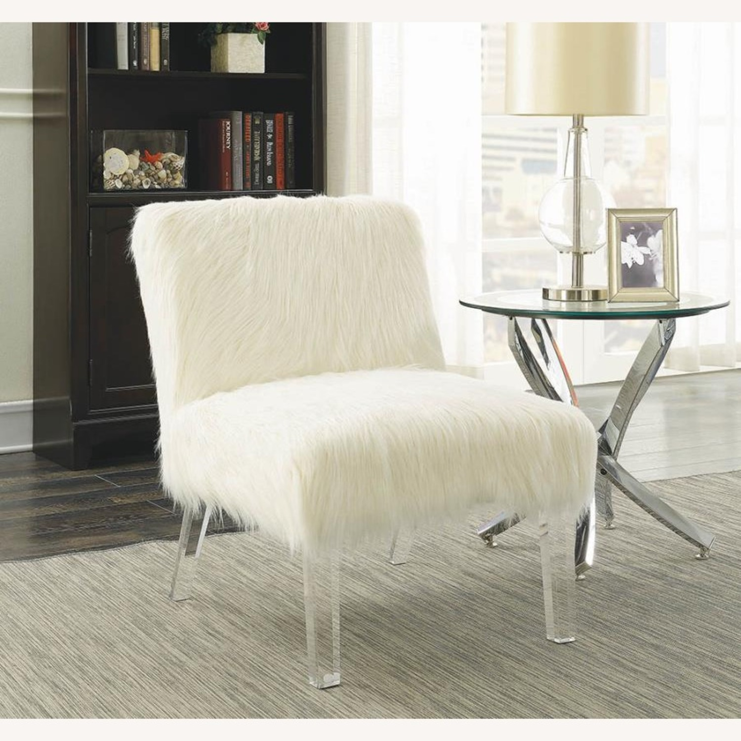 Accent Chair In Glamorous White Faux Sheepskin - image-4
