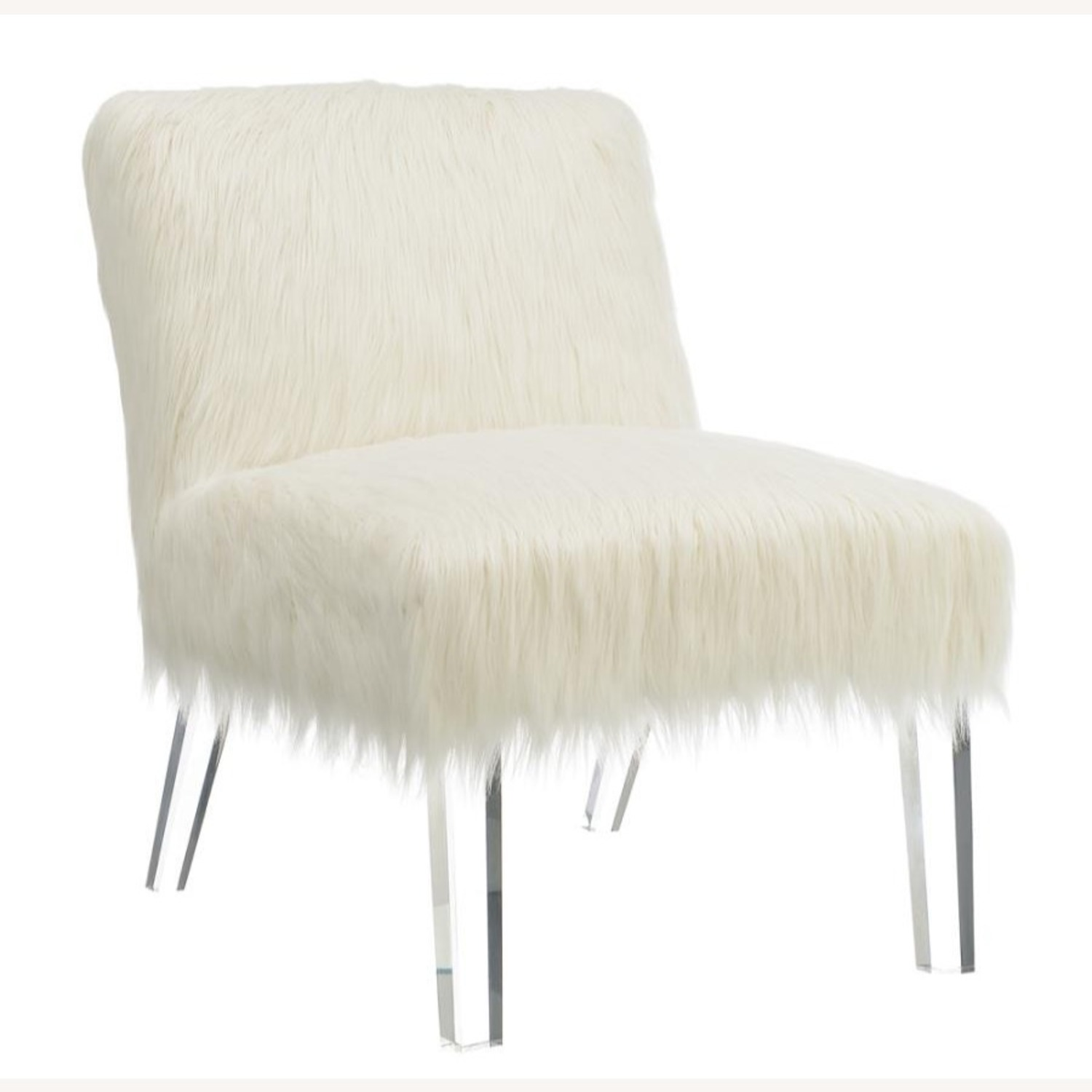 Accent Chair In Glamorous White Faux Sheepskin - image-0