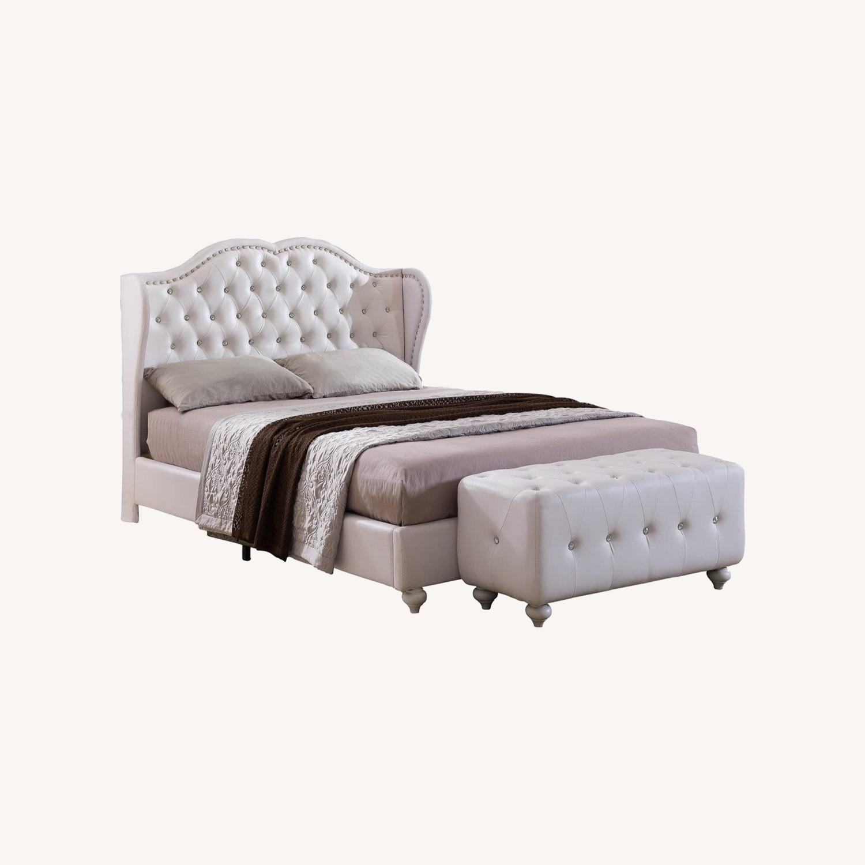 White Designed Faux Leather King Size Platform Bed - image-0