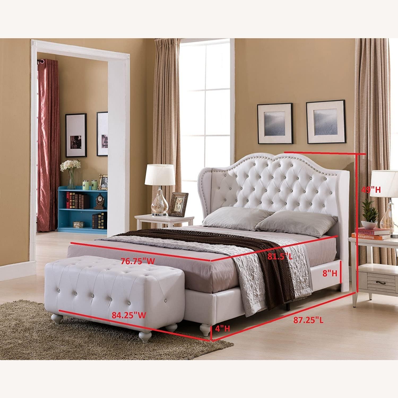 White Designed Faux Leather King Size Platform Bed - image-2