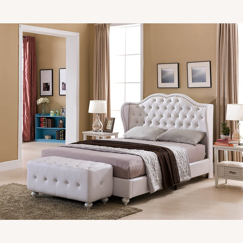 White Designed Faux Leather King Size Platform Bed - image-1