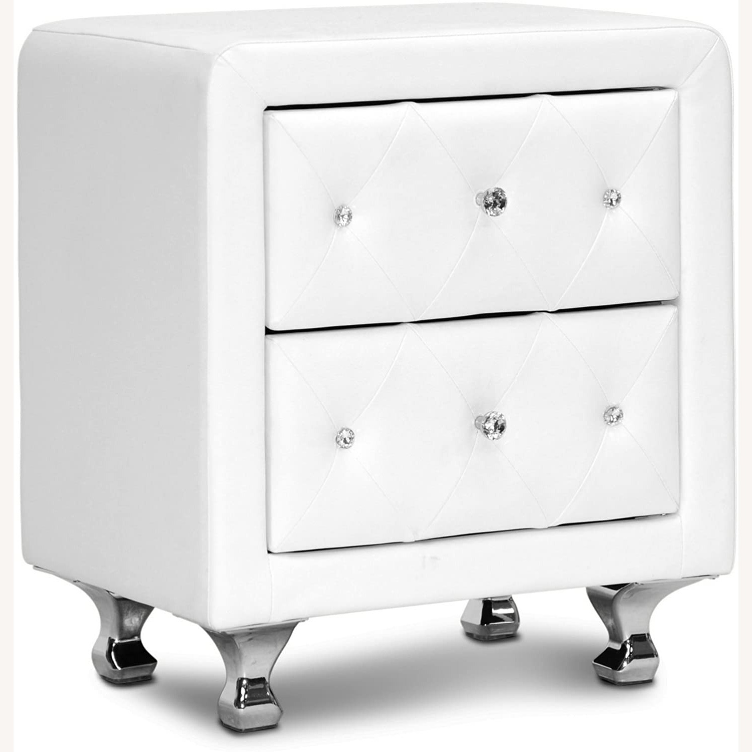 White Crystal Tufted Upholstered Modern Nightstand - image-1
