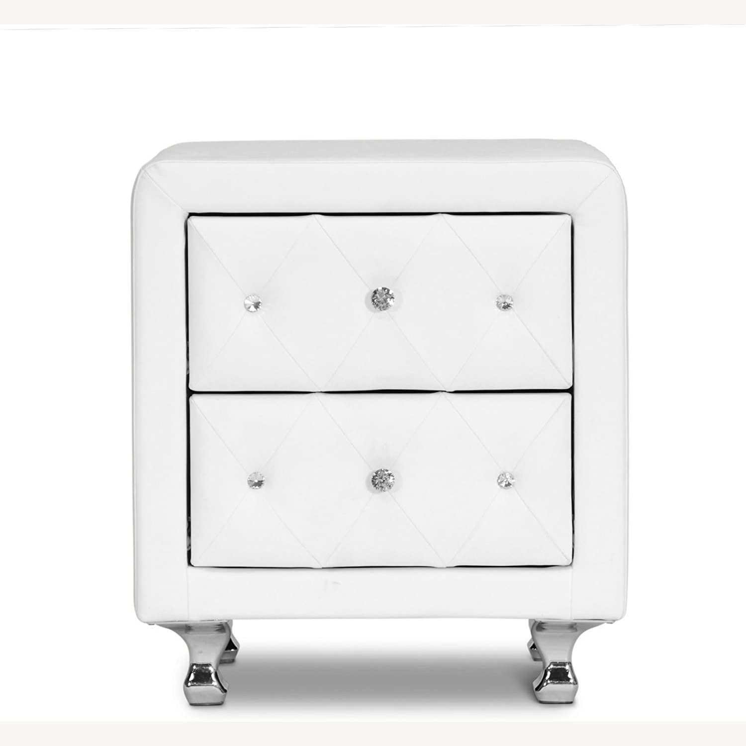 White Crystal Tufted Upholstered Modern Nightstand - image-2