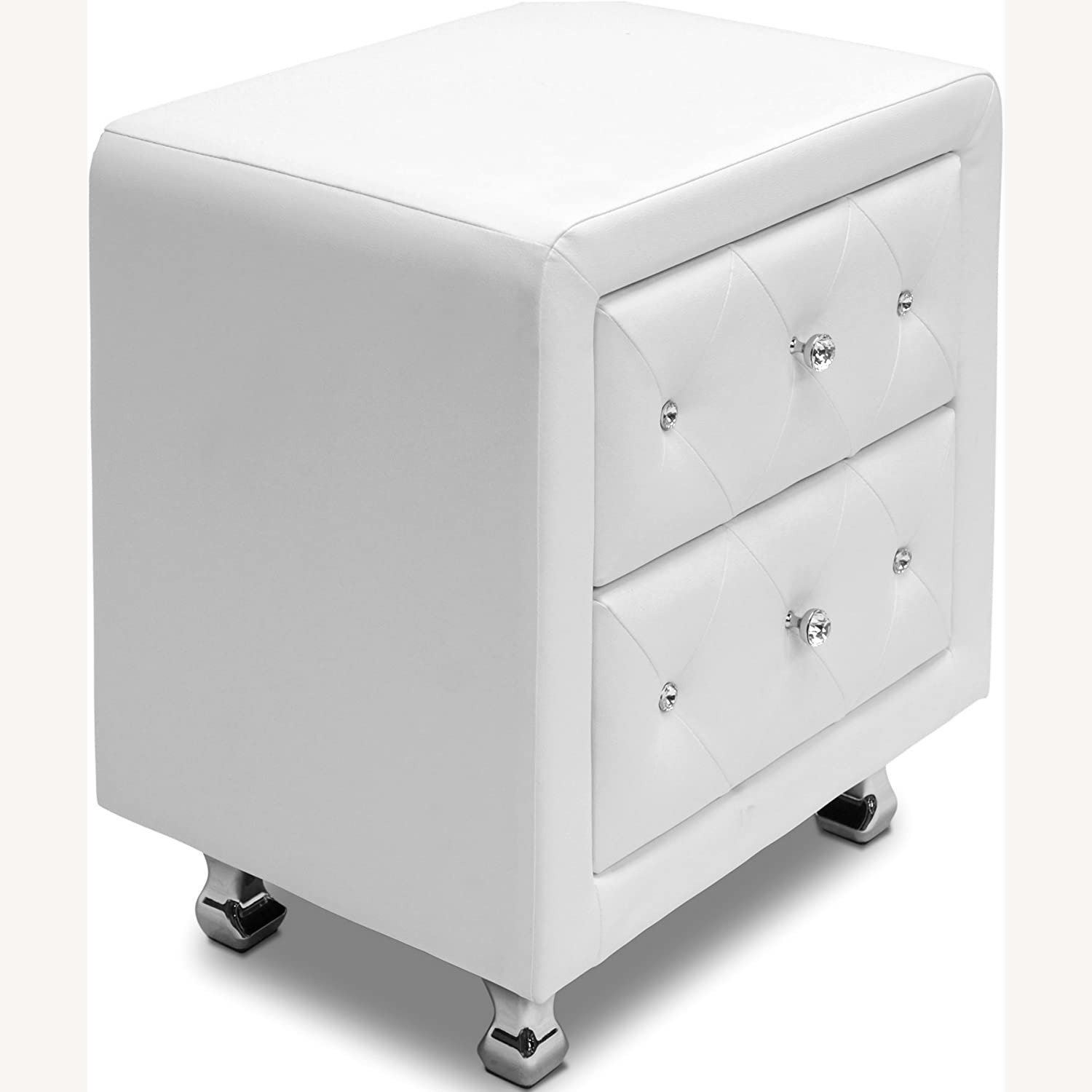 White Crystal Tufted Upholstered Modern Nightstand - image-3