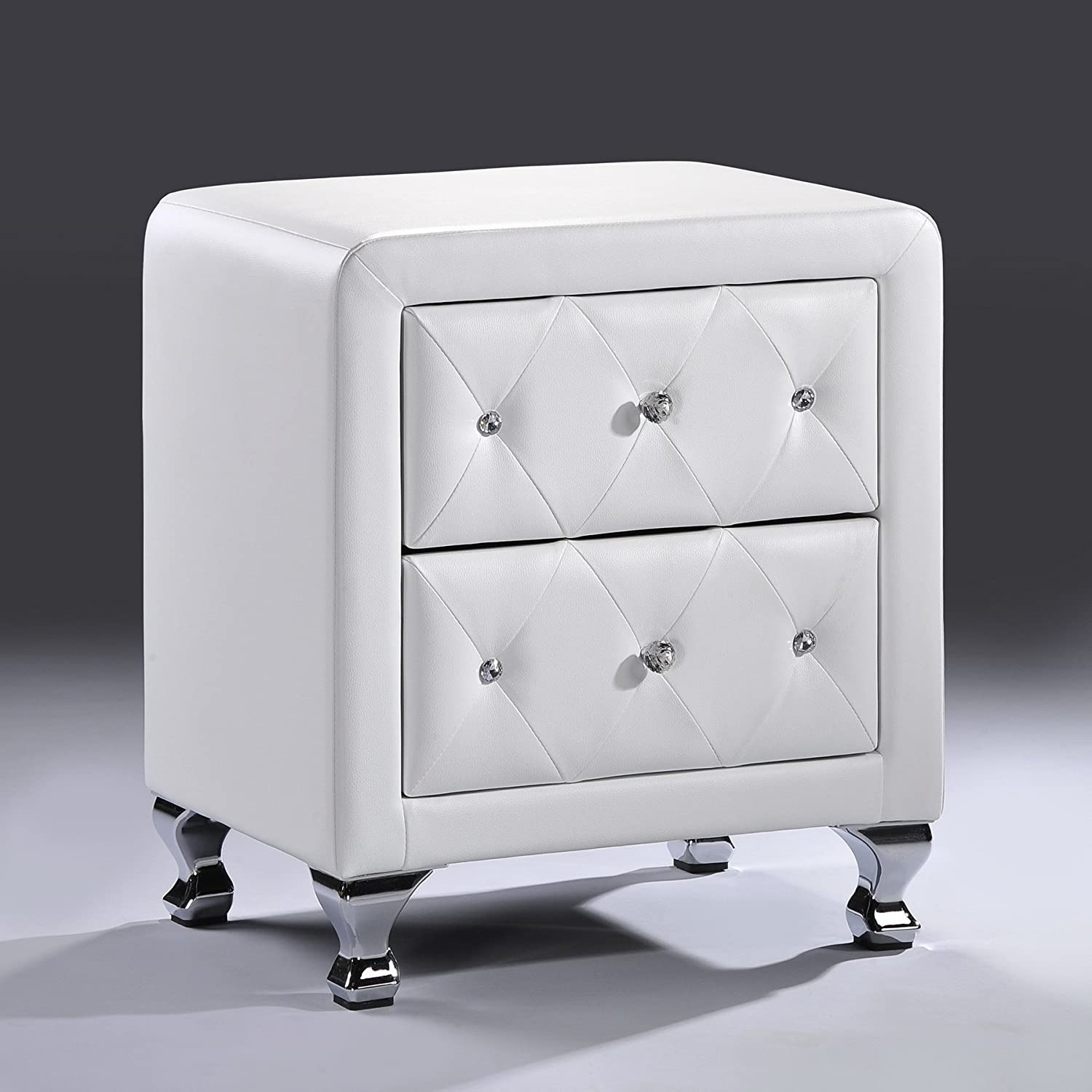 White Crystal Tufted Upholstered Modern Nightstand - image-5