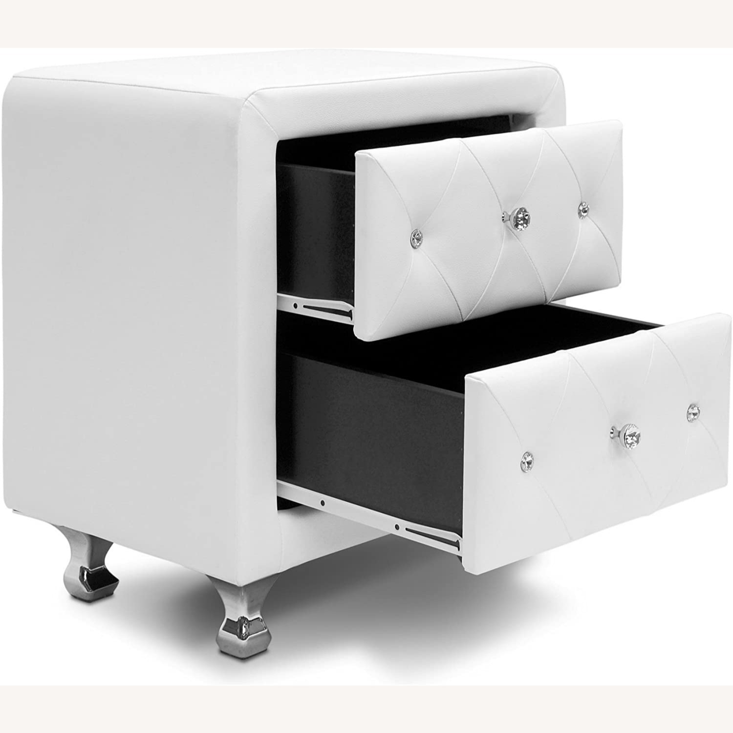 White Crystal Tufted Upholstered Modern Nightstand - image-4