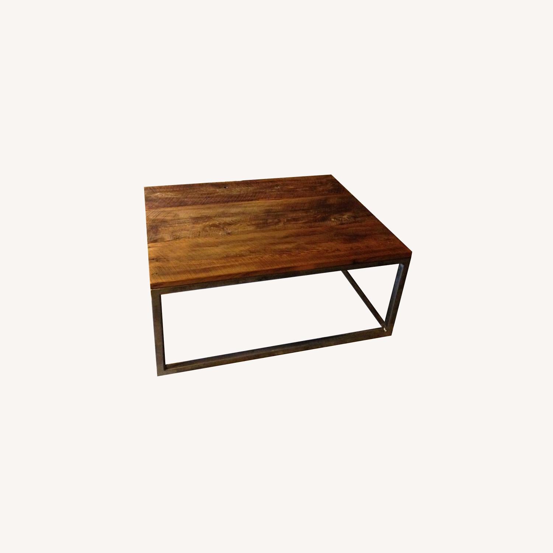 Custom-Made Industrial/Wood Coffee Table - image-0