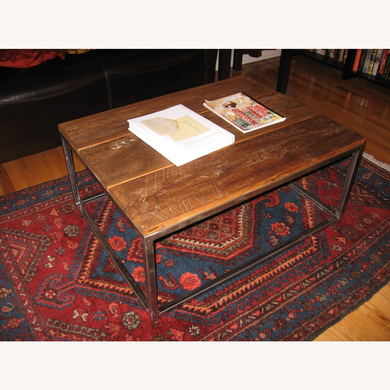Custom-Made Industrial/Wood Coffee Table - image-3