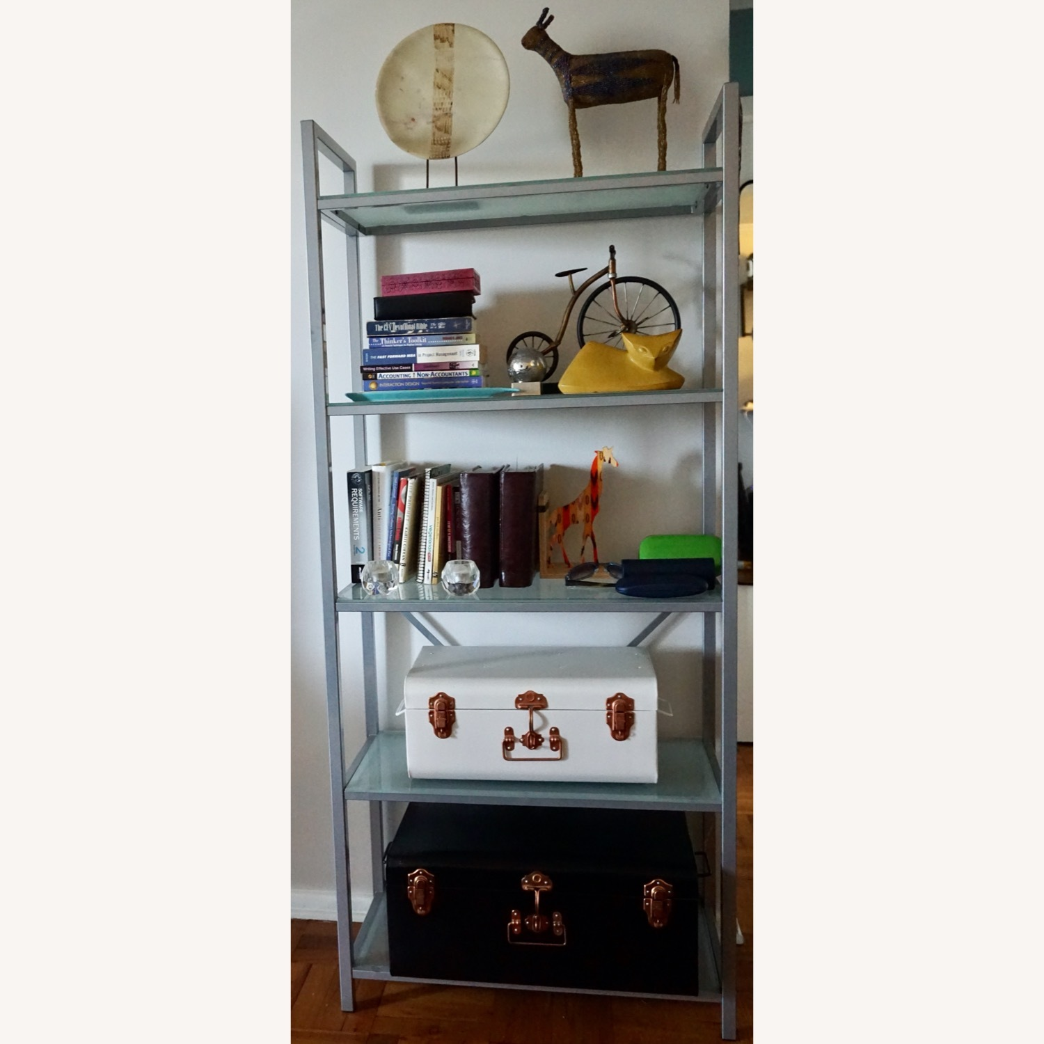 Pair of Wayfair Silver Bookcases - image-7