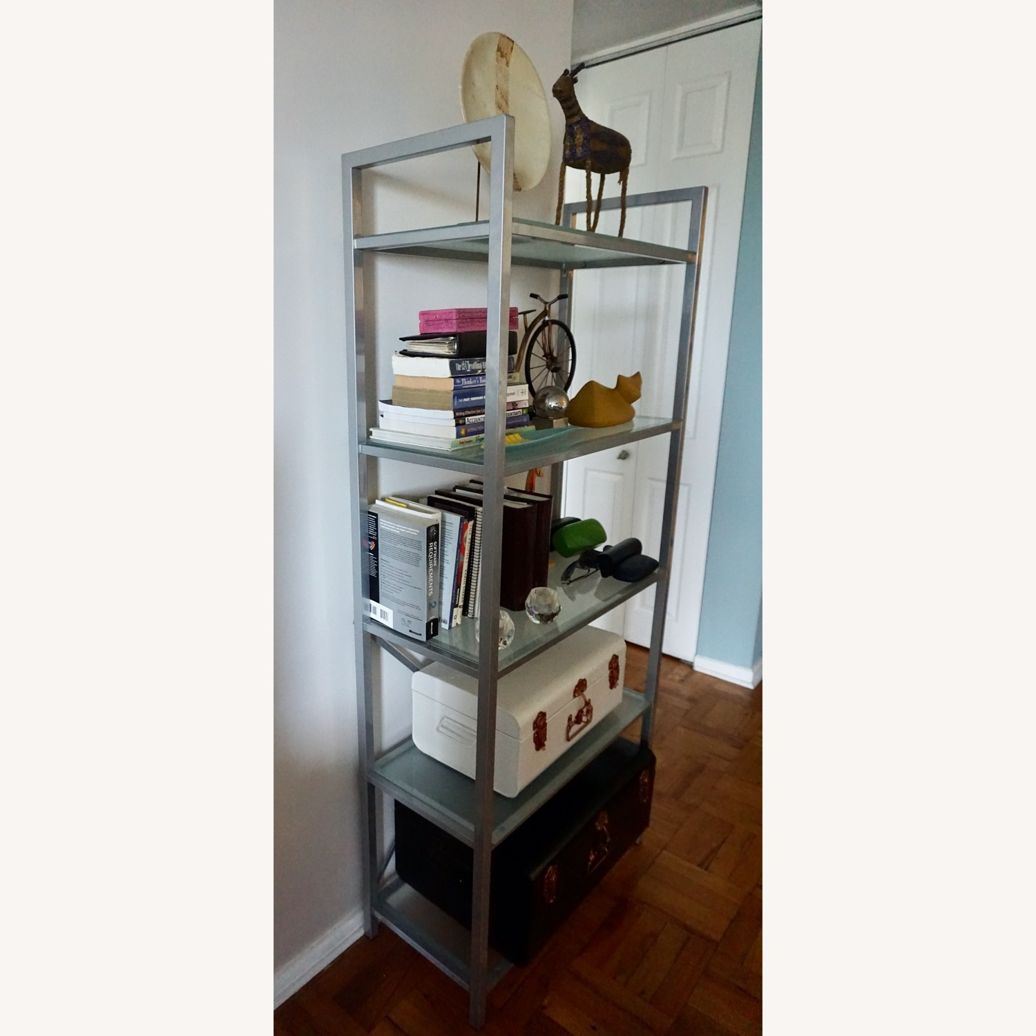 Pair of Wayfair Silver Bookcases - image-1