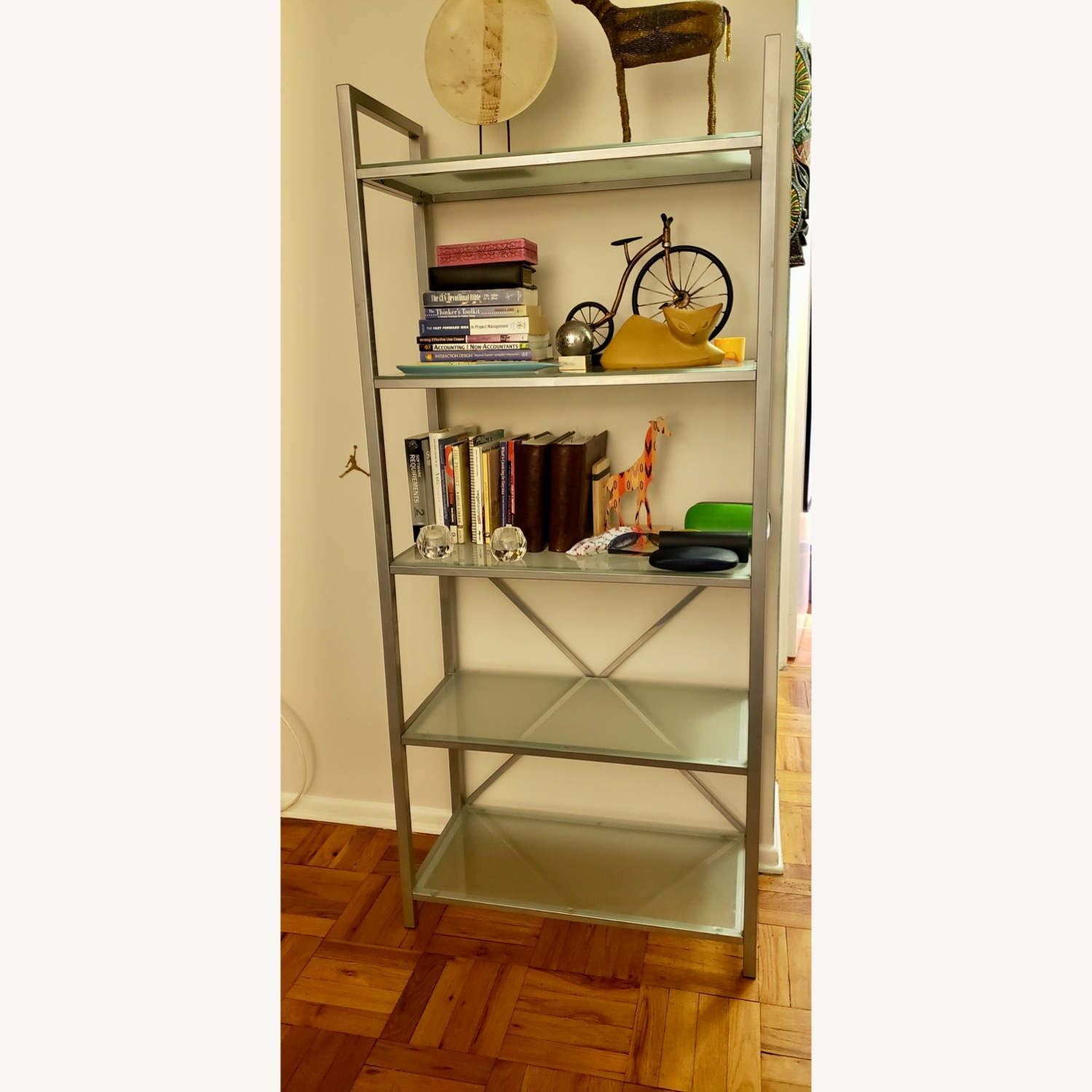 Pair of Wayfair Silver Bookcases - image-8