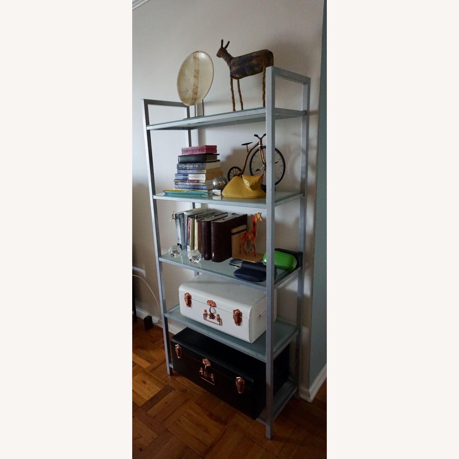 Pair of Wayfair Silver Bookcases - image-2