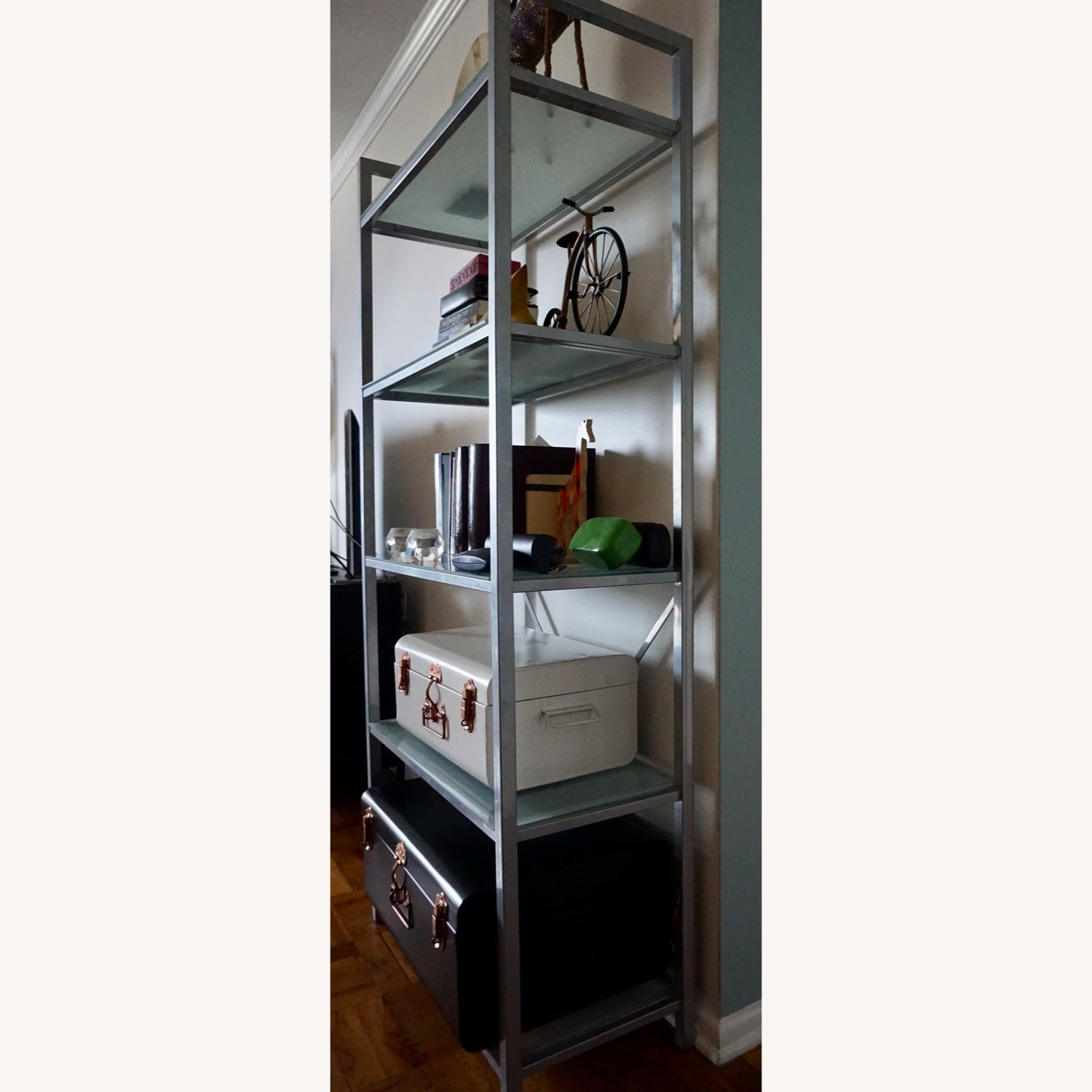 Pair of Wayfair Silver Bookcases - image-3