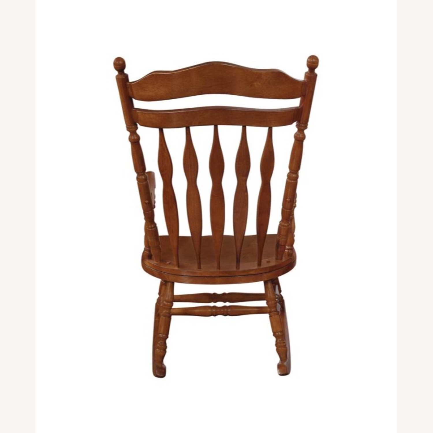 Windor Style Rocking Chair In Medium Brown Finish - image-2