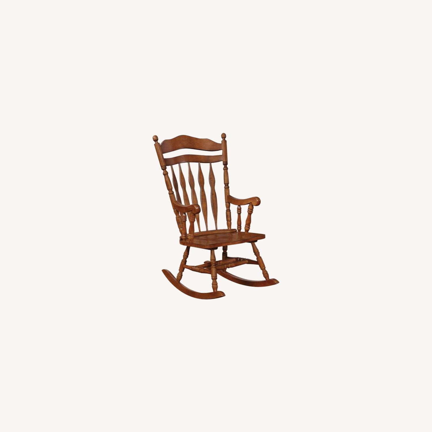 Windor Style Rocking Chair In Medium Brown Finish - image-5