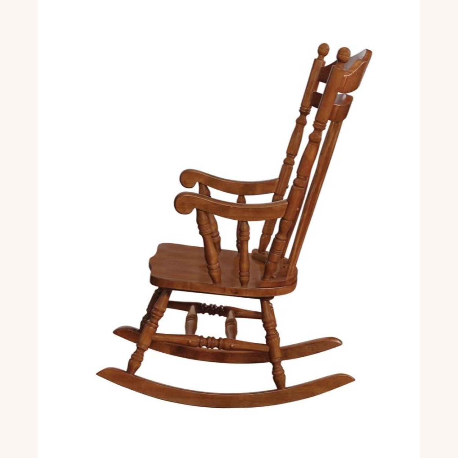 Windor Style Rocking Chair In Medium Brown Finish - image-1