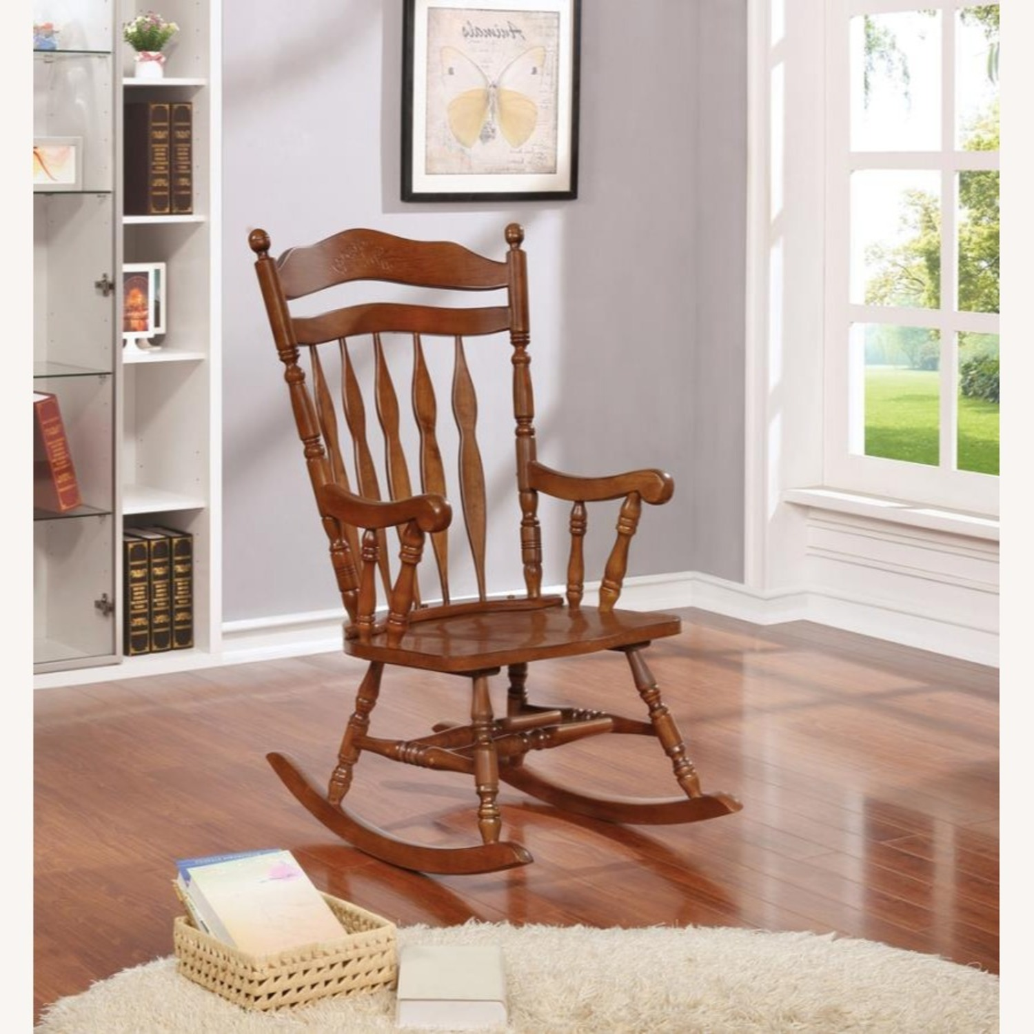 Windor Style Rocking Chair In Medium Brown Finish - image-4