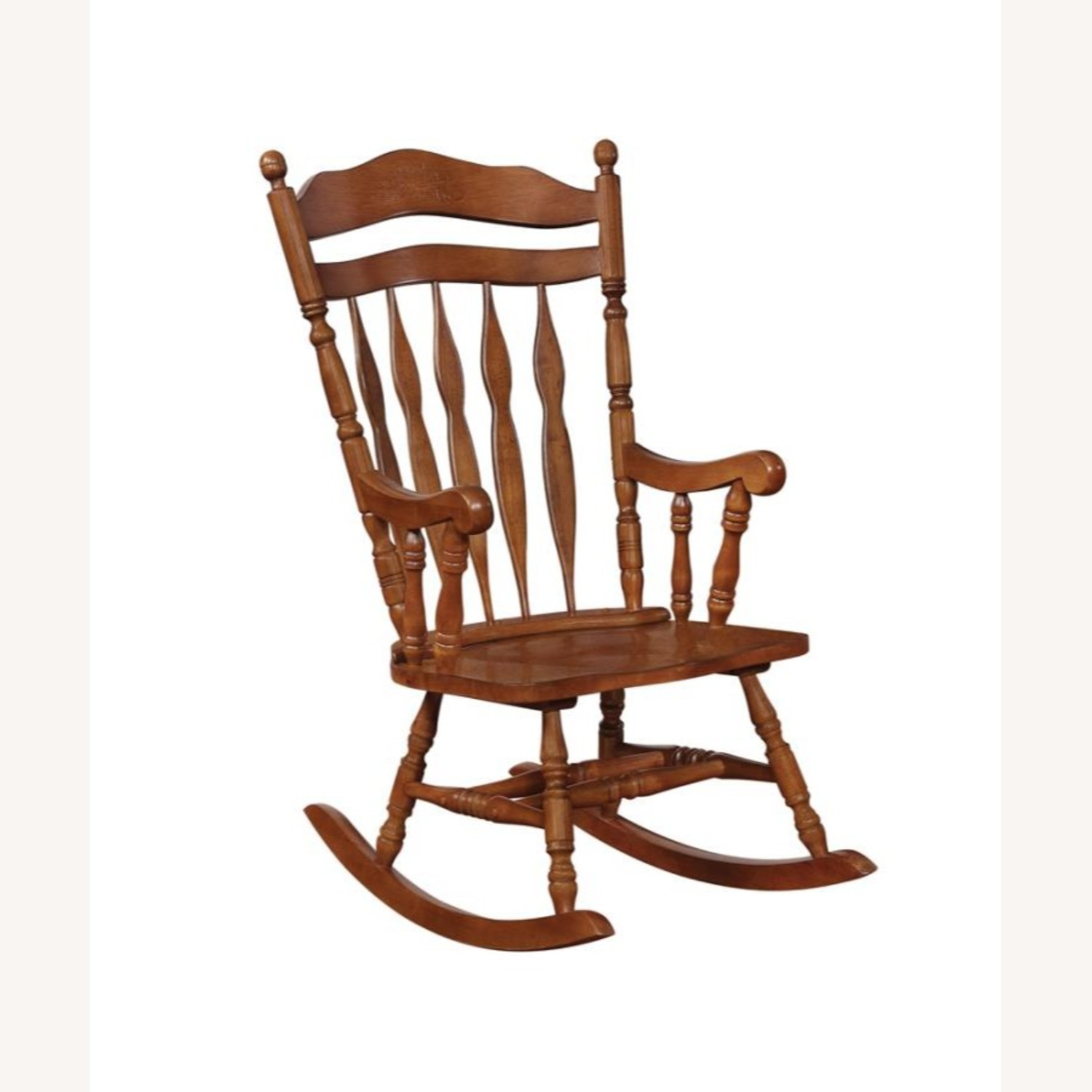 Windor Style Rocking Chair In Medium Brown Finish - image-0