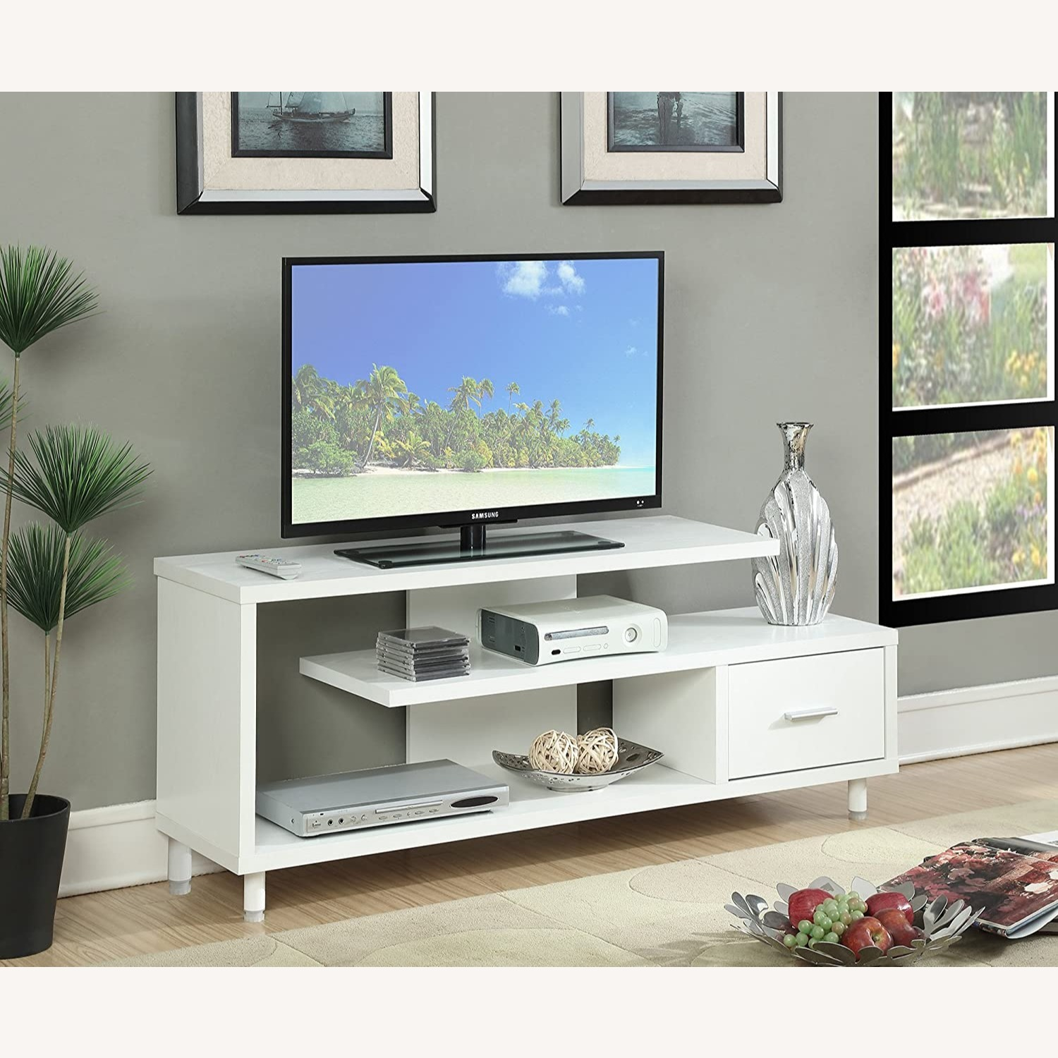 "Convenience Concepts Modern 60"" TV Stand White - image-1"