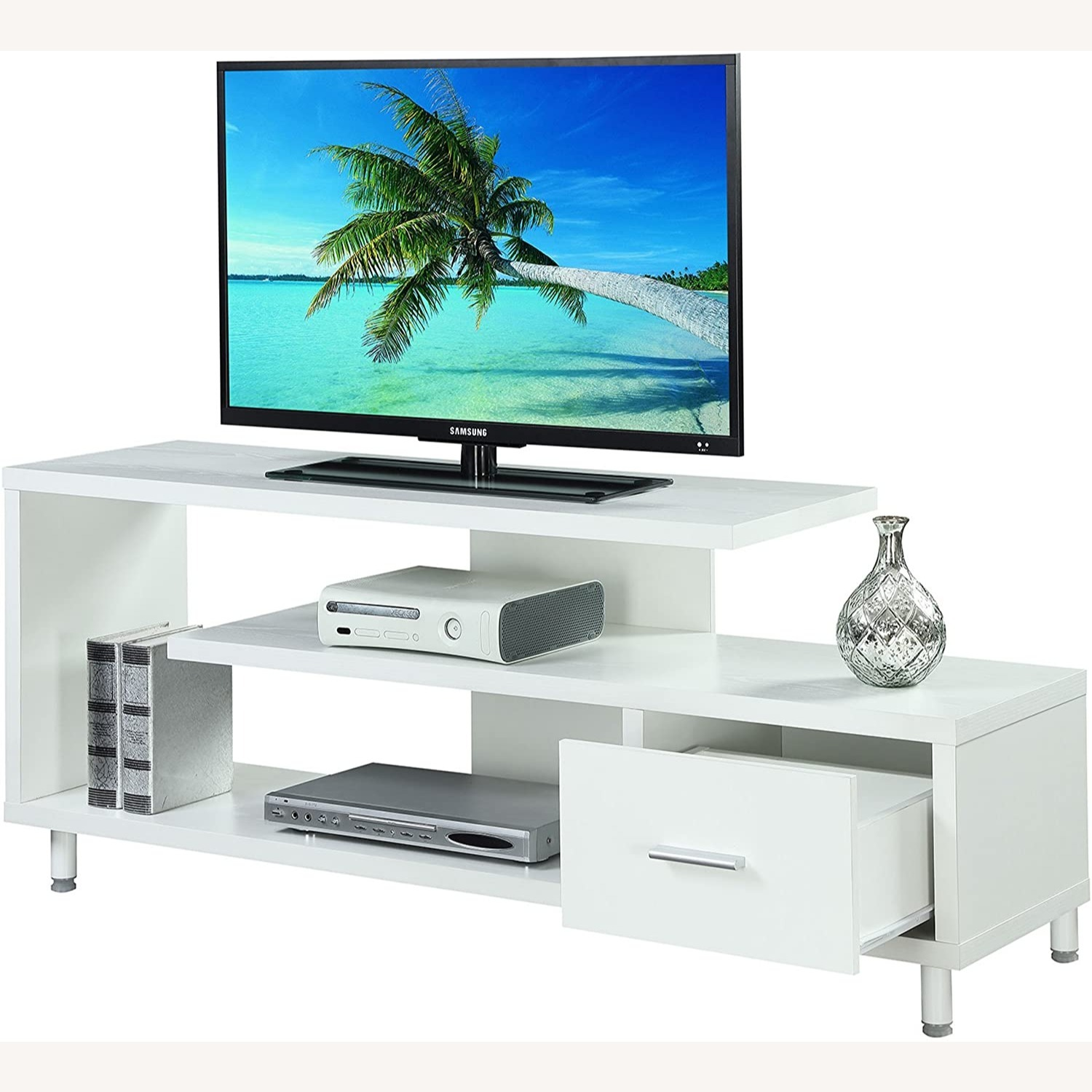 "Convenience Concepts Modern 60"" TV Stand White - image-2"