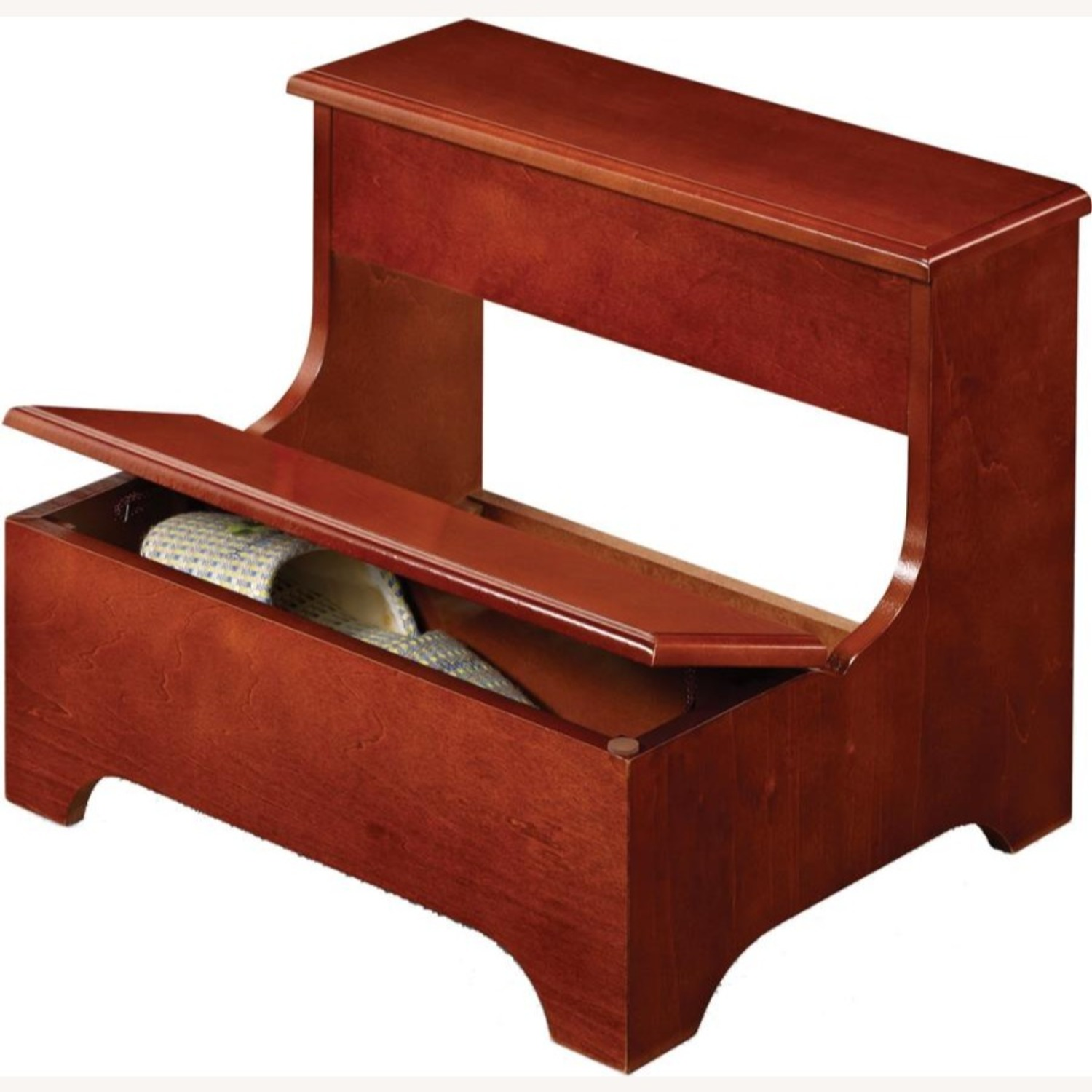 Two-Tier Step Stool In Brown Red Finish - image-1