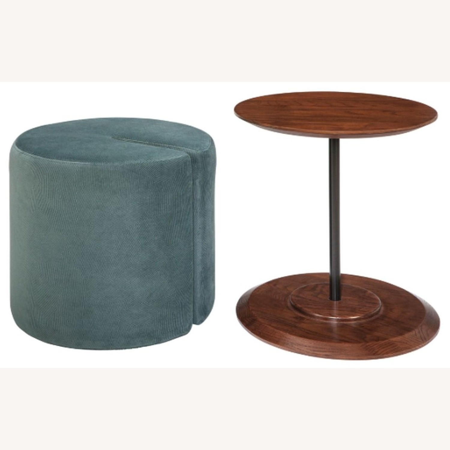 Accent Table W/ Ottoman In Teal Velvet Finish - image-2