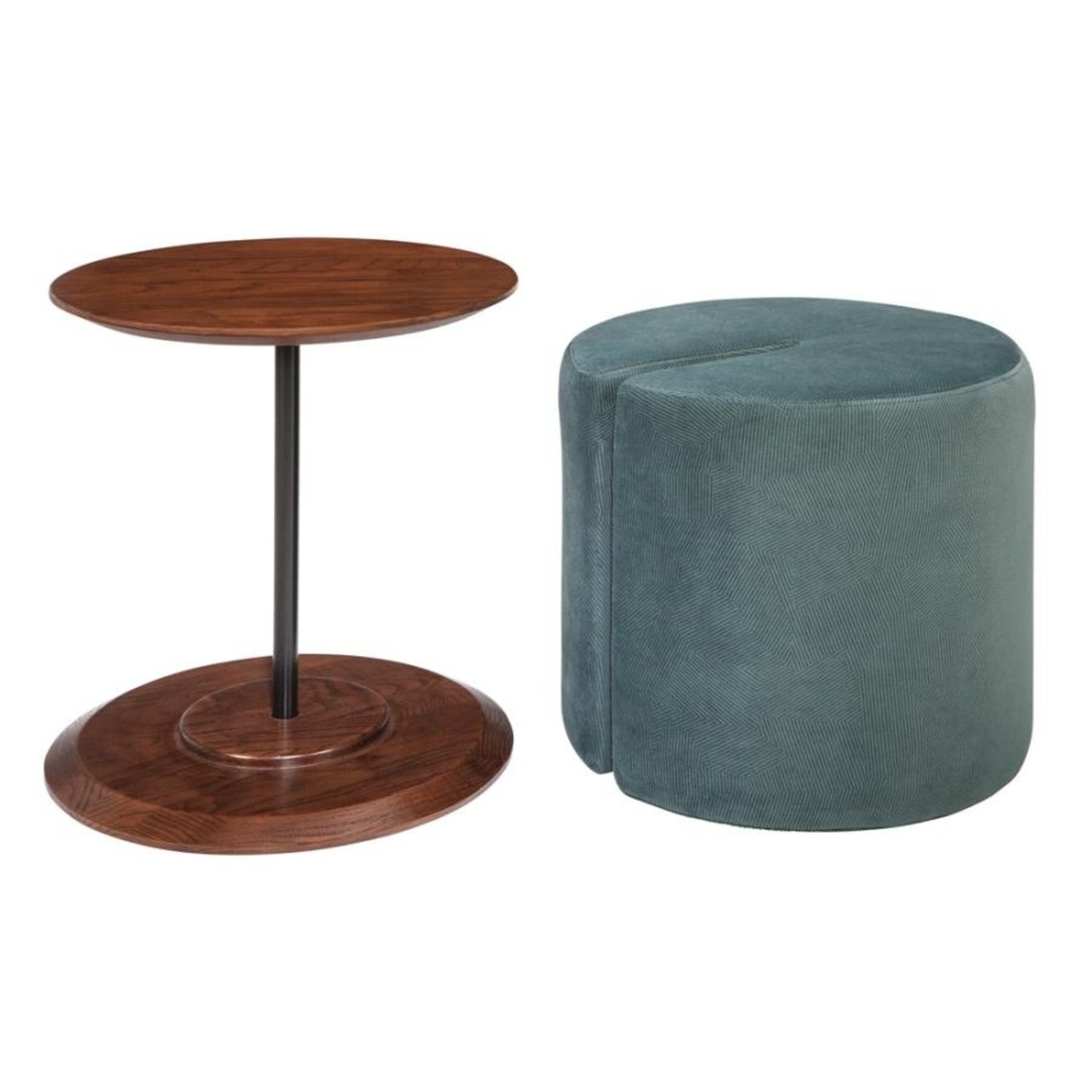 Accent Table W/ Ottoman In Teal Velvet Finish - image-1