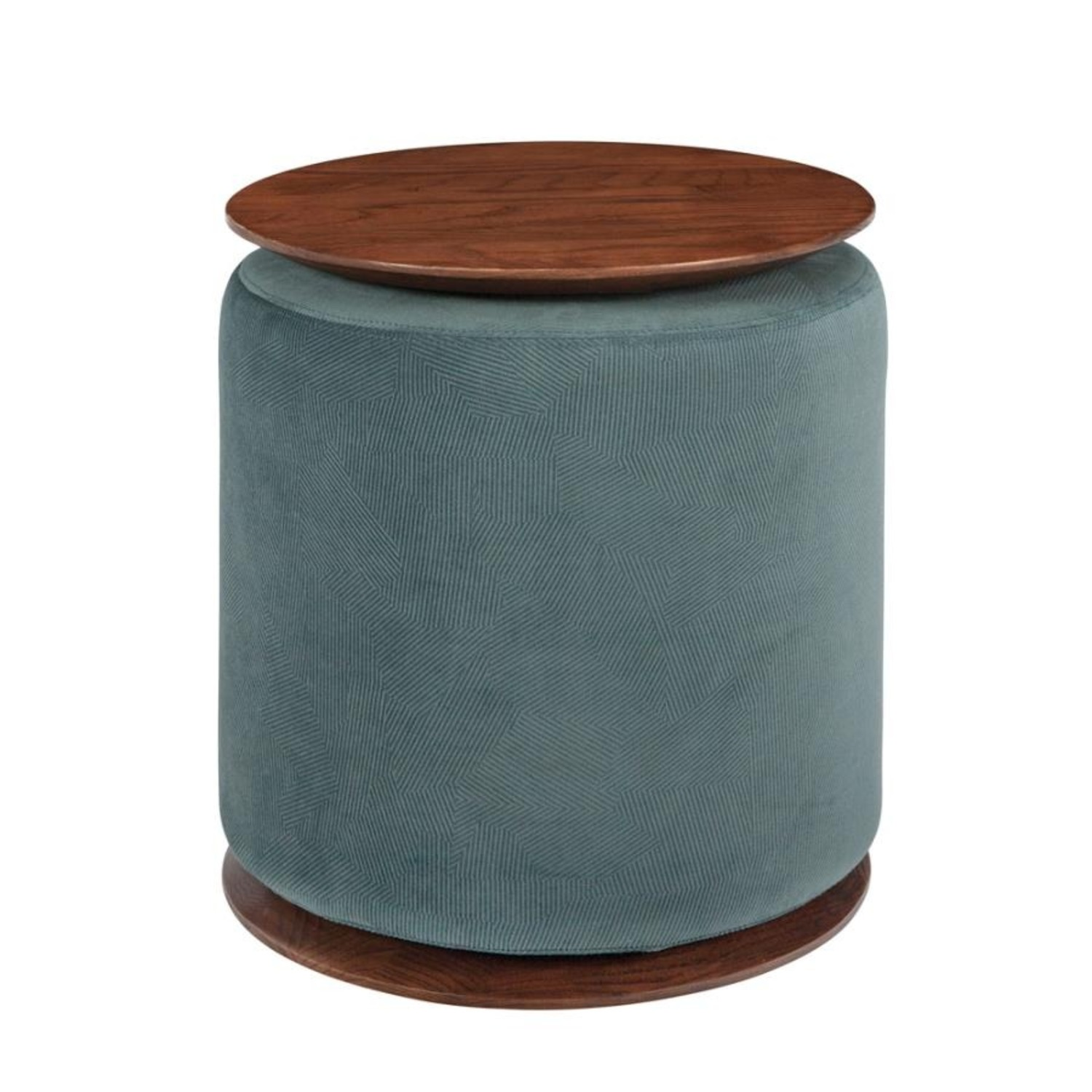Accent Table W/ Ottoman In Teal Velvet Finish - image-0