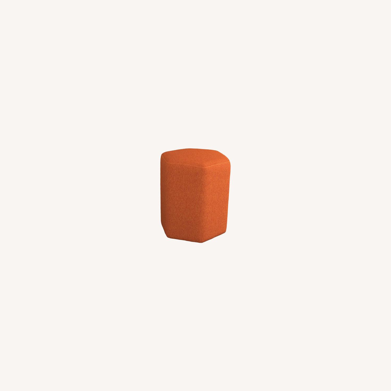 Stool In Hexagon Shaped Orange Finish - image-3