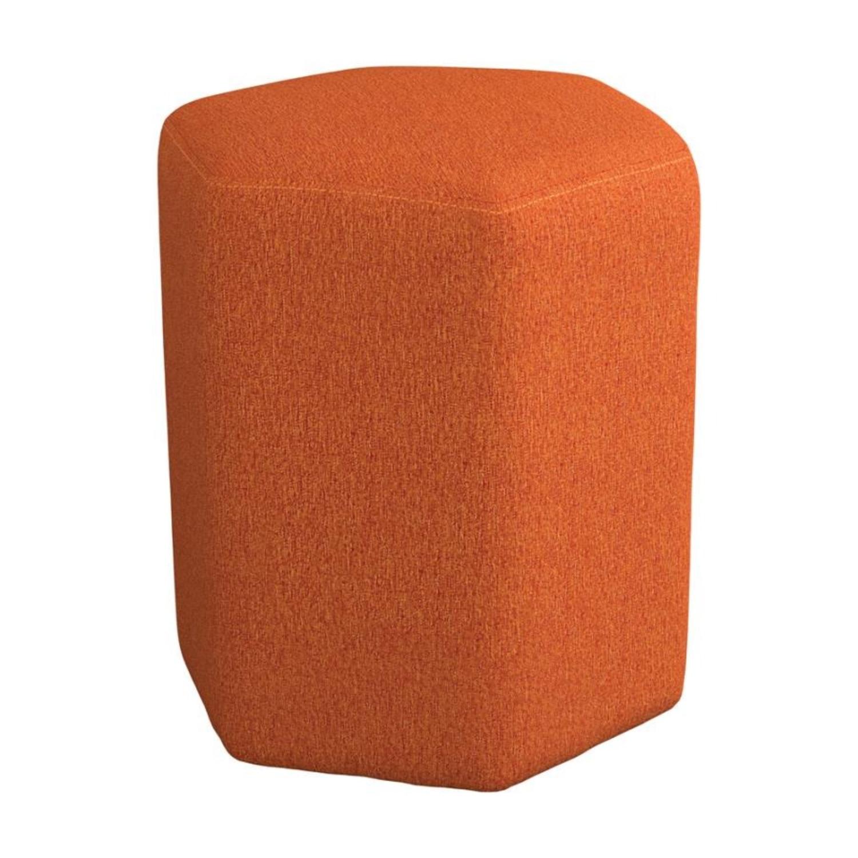 Stool In Hexagon Shaped Orange Finish - image-0