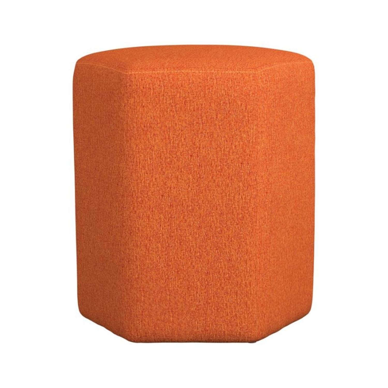 Stool In Hexagon Shaped Orange Finish - image-1