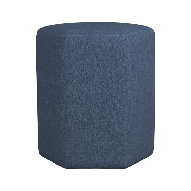 Stool In Hexagon Shaped Dark Blue Finish - image-1
