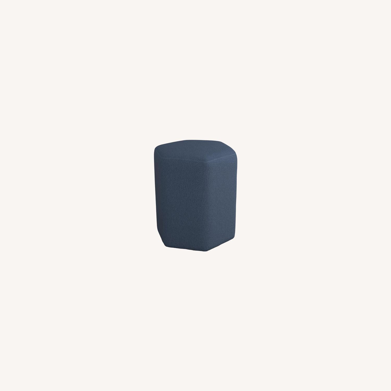 Stool In Hexagon Shaped Dark Blue Finish - image-3