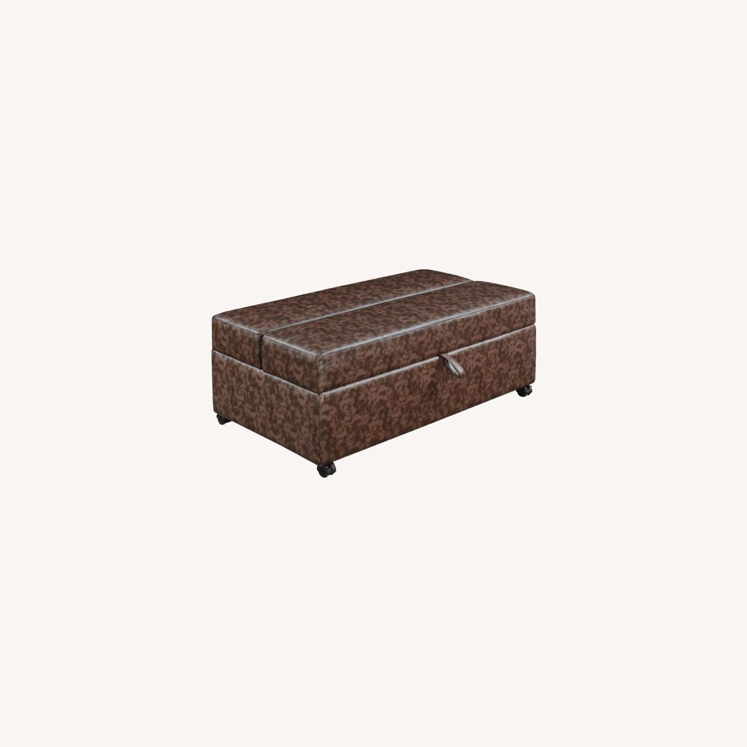 Multi-Functional Ottoman In Dark Brown Leatherette - image-6