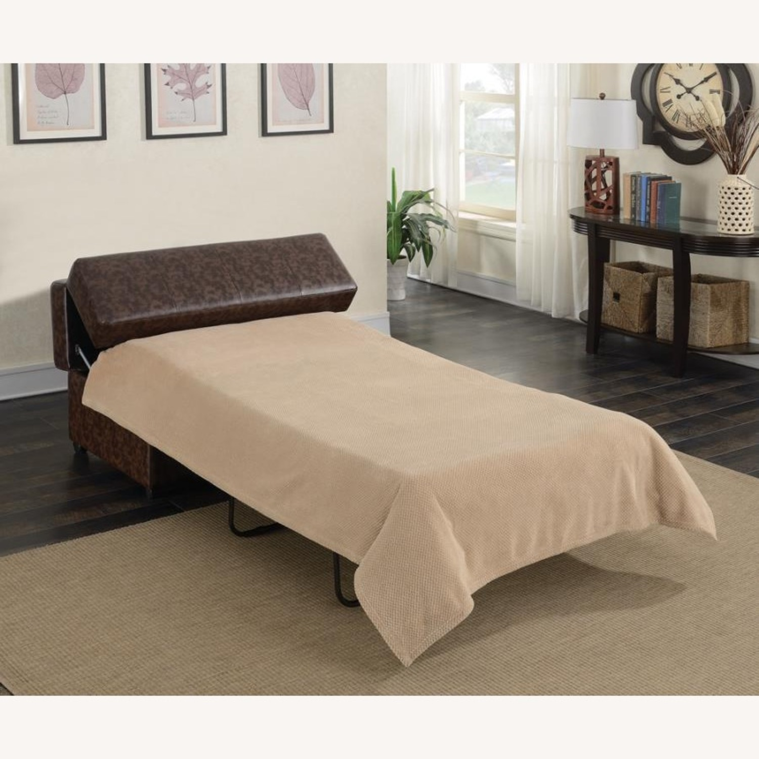 Multi-Functional Ottoman In Dark Brown Leatherette - image-5